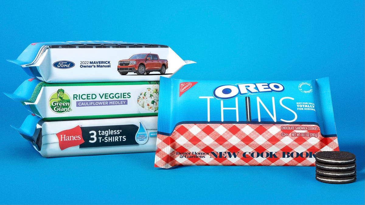 Three packs of Oreo feature the brand's blue and white packaging with edges designed to look like other brands.