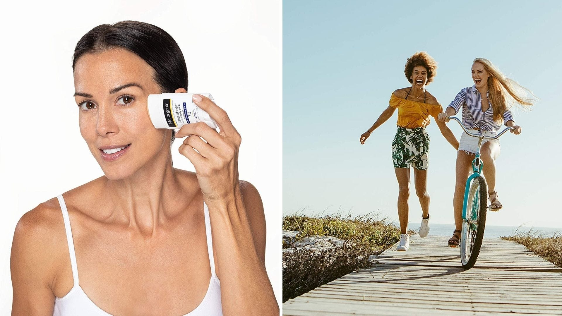 A woman rubs a sunscreen stick on her face and two women bike and run on the sidewalk
