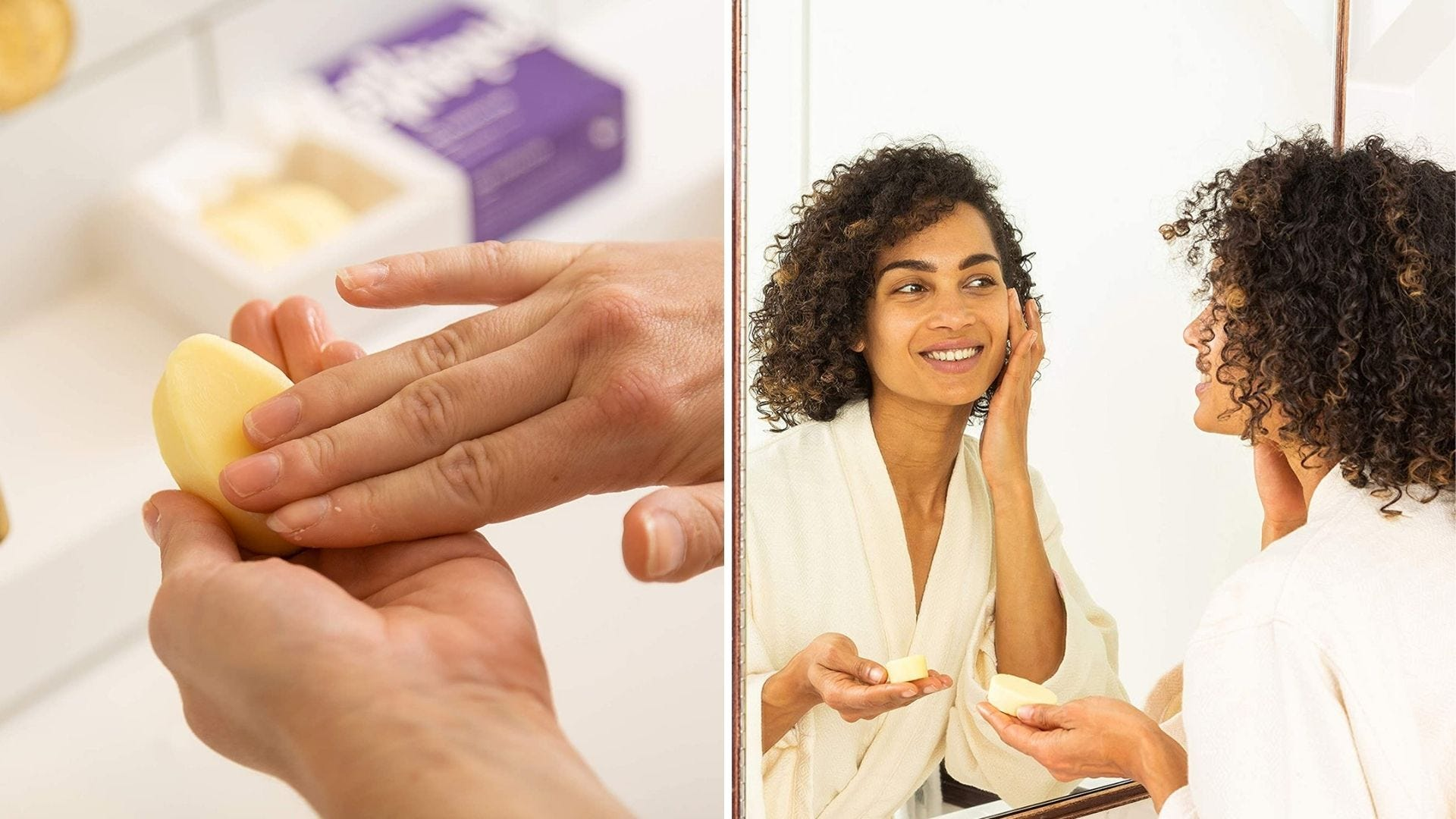 Someone holds an oval shaped bar in their hand and a woman rubs a face lotion bar on her face