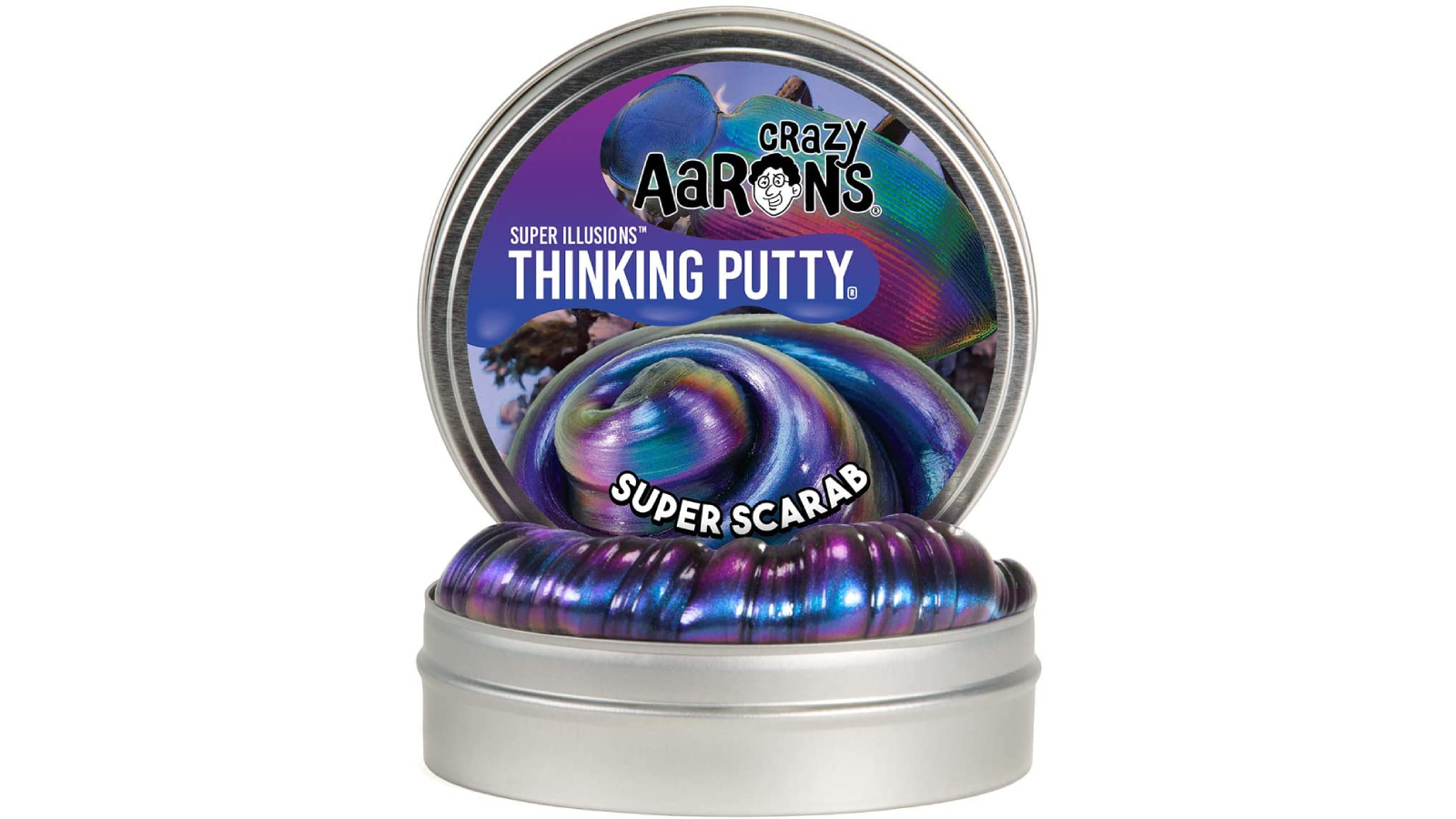 Tin open to show the iridescent putty within.