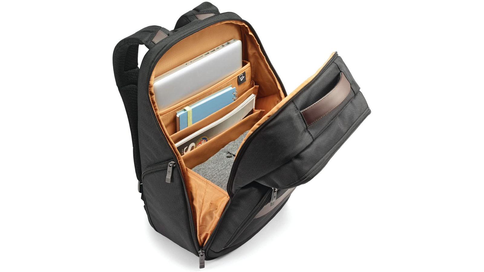 Backpack opened to show interior organization design