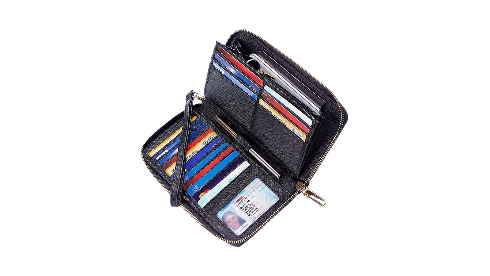Open clutch wallet filled with cards