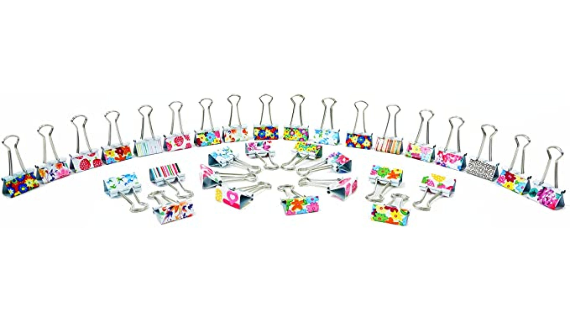 colorful printed binder clips displayed standing up in line