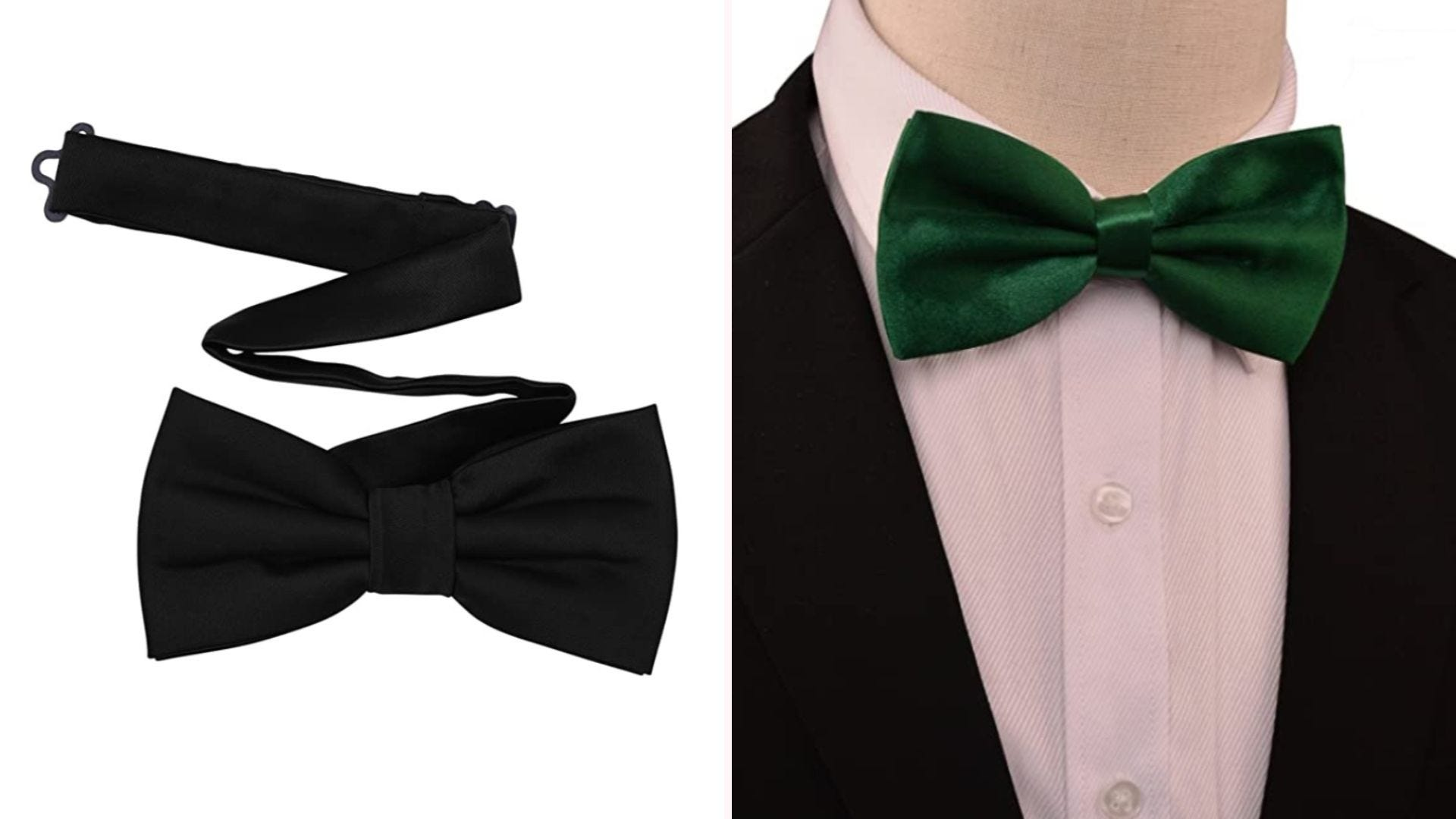 On the left, a black pre-tied bow tie with a strap. On the right, a mannequin wears a suit with a green bow tie.