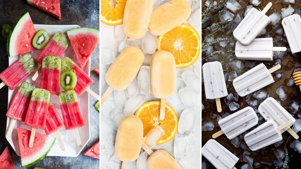 A plate of green and red popsicles, a plate of orange popsicles, and several lavender popsicles.