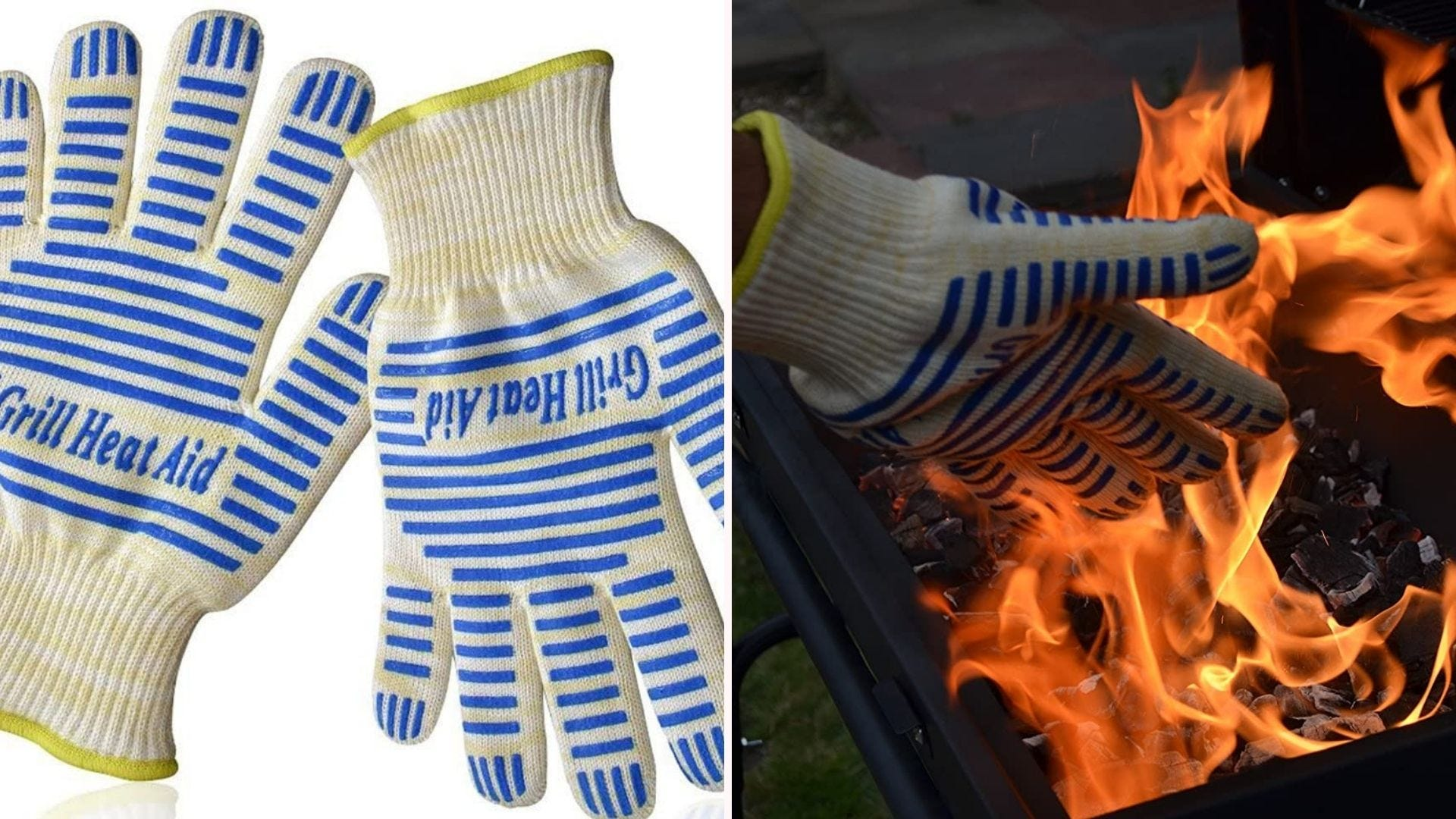 a pair of Grill Heat Aid gloves with blue lines on the back shown on a hand by a grill flame