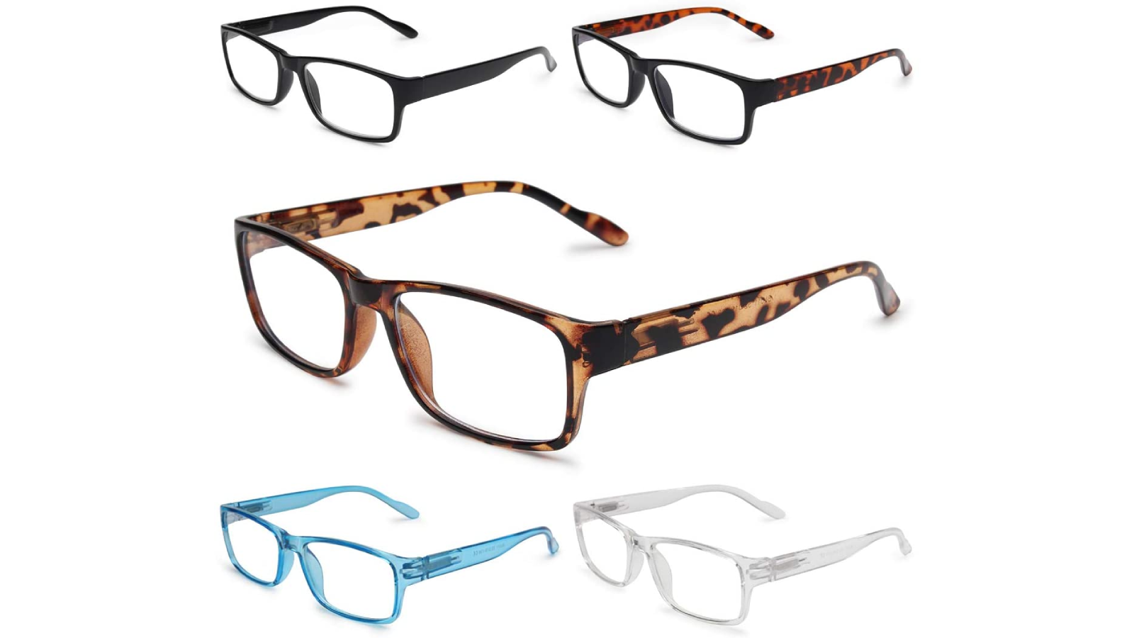 Five pairs of glasses, different color frames