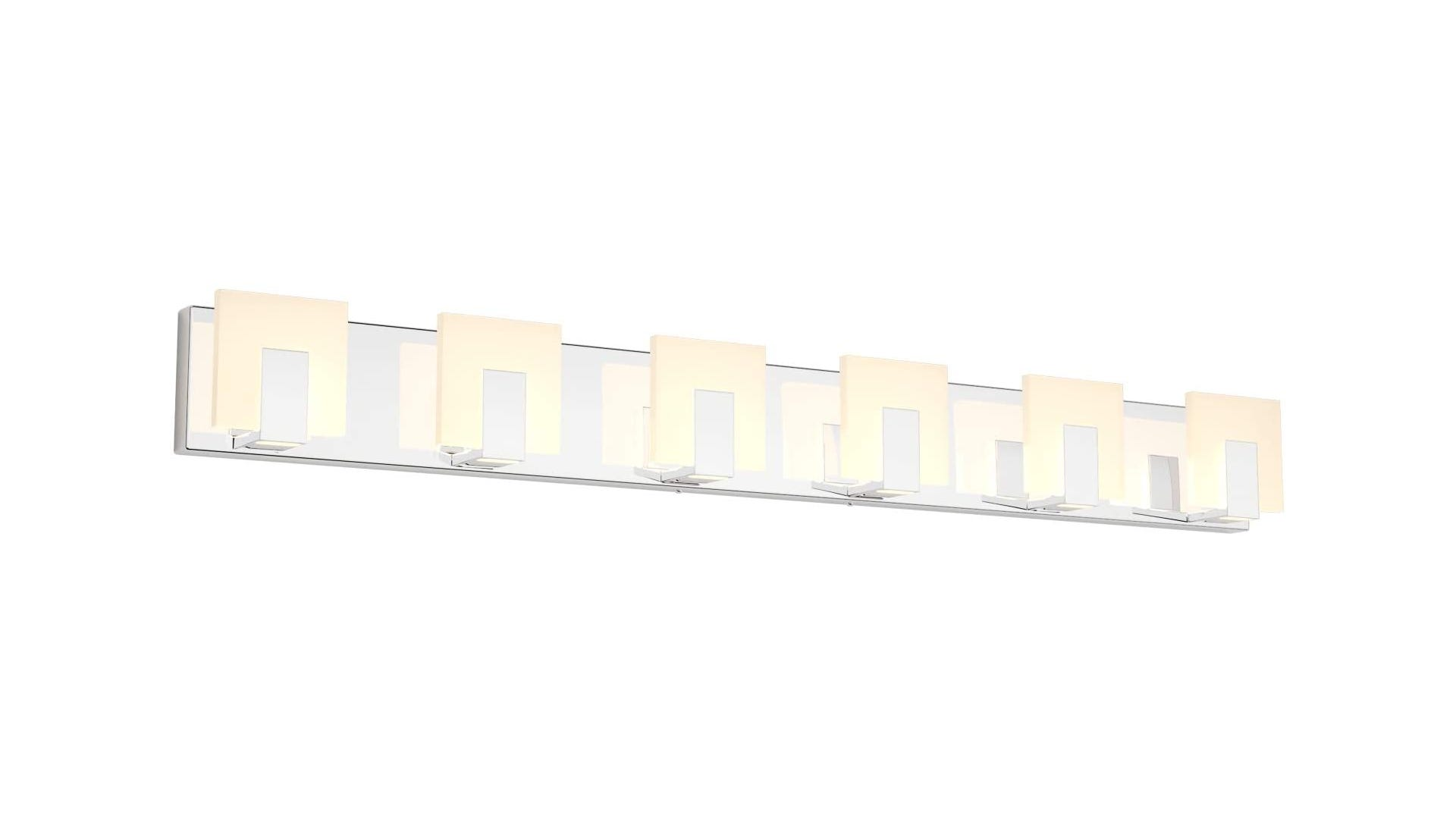 chrome-finished bathroom light with six frosted glass lights