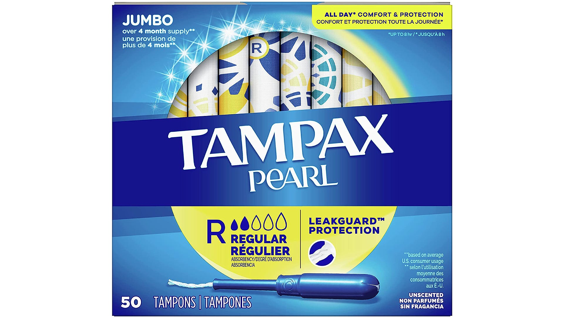 A blue and yellow box of regular Tampax Pearl tampons.
