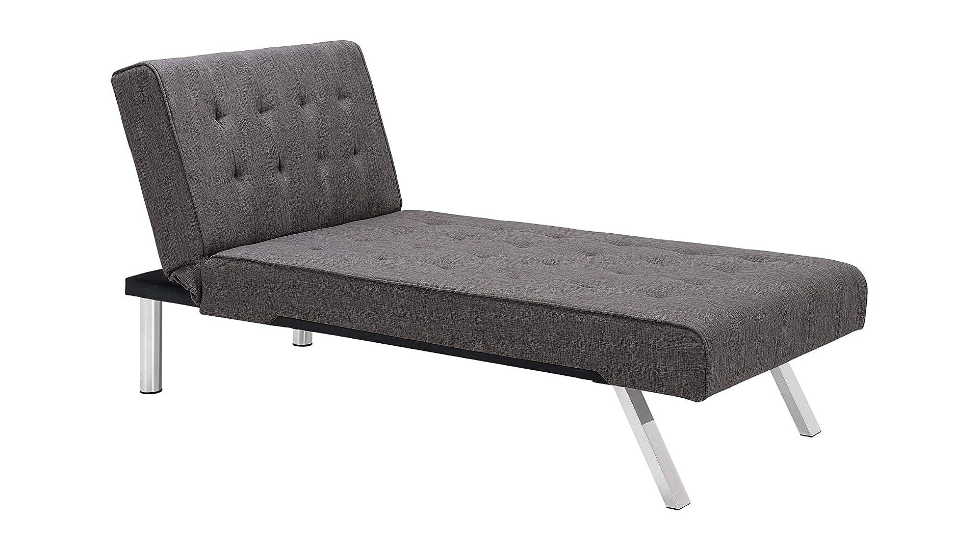 A cushioned gray chaise lounge chair with chrome legs.