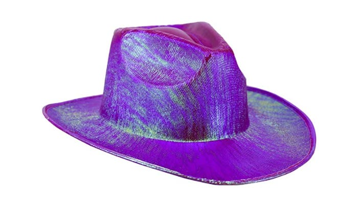 At centerframe is a cowboy hat that features a 23-inch circumference and a fuchsia-tinted surface.