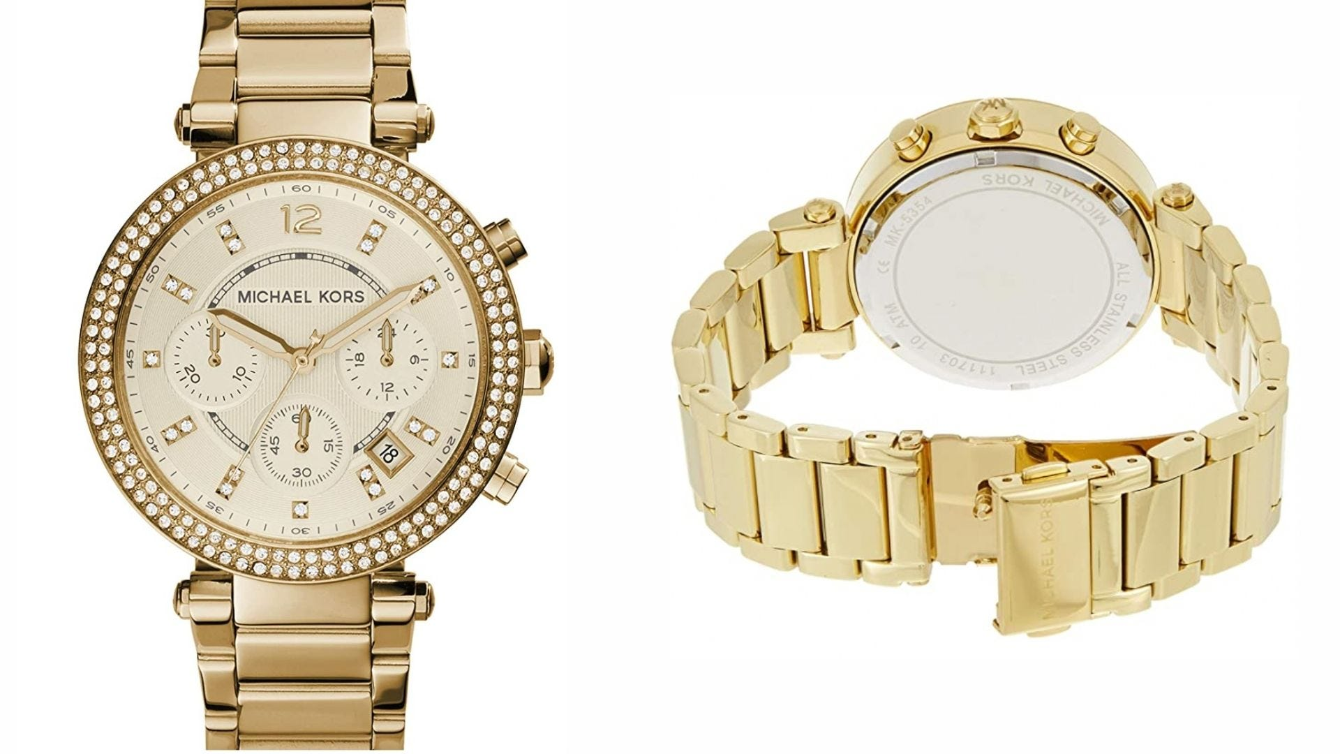 the face and the band of a gold Michael Kors analog watch