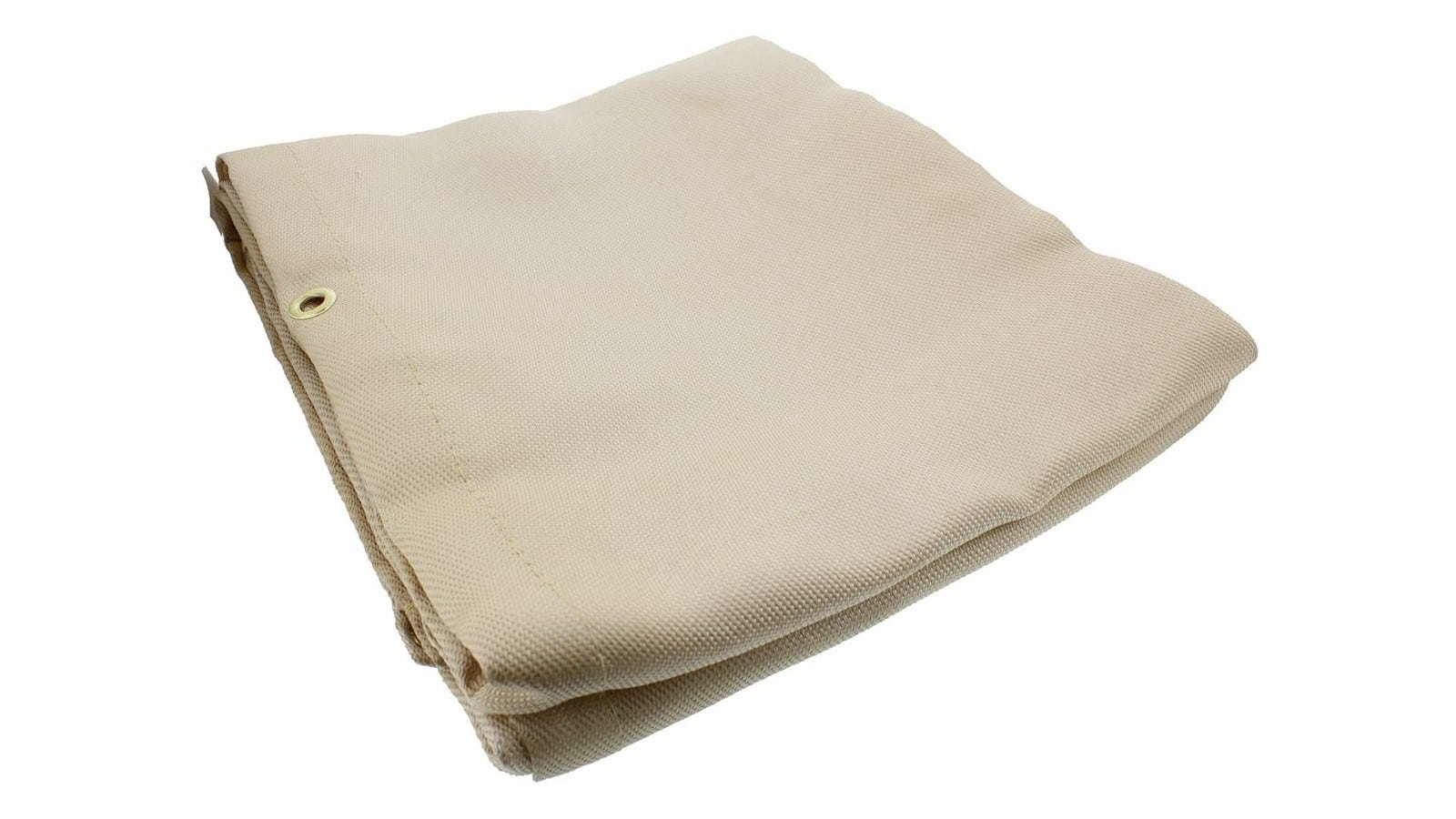 a folded tan-colored heavy blanket