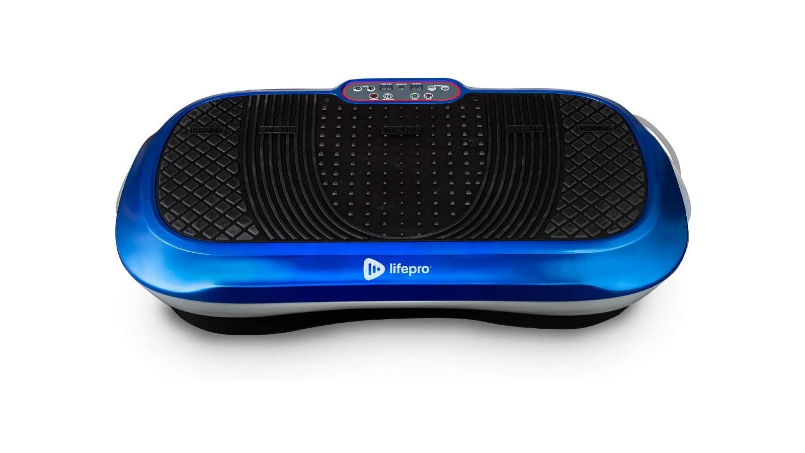 a black and blue lifepro vibration plate with patterned texture on the top piece