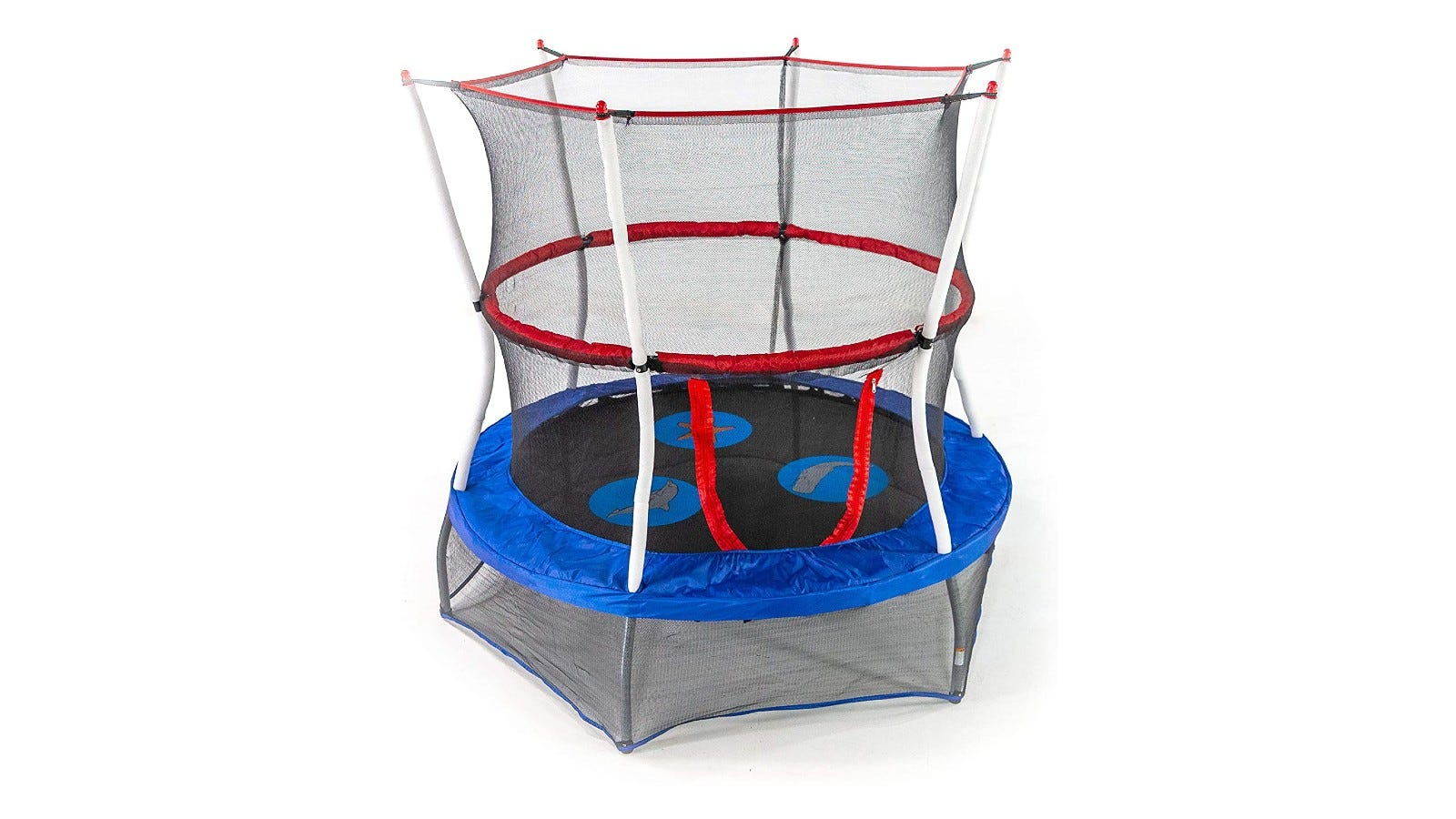A mini trampoline with a mesh protective enclosure