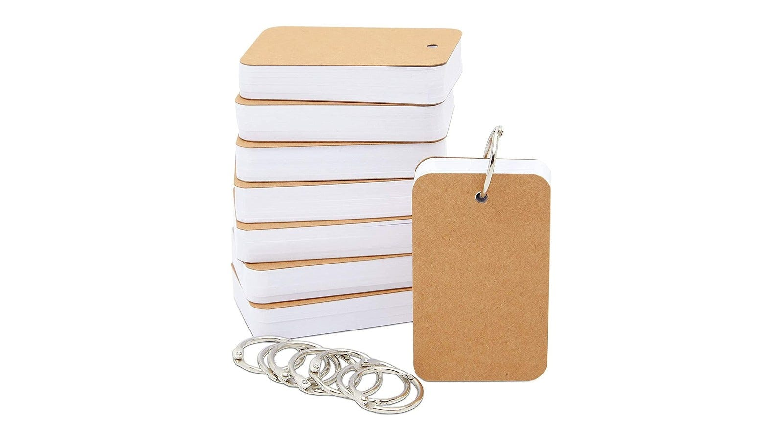 a stack of flashcards with rings and covers on each end of each stack