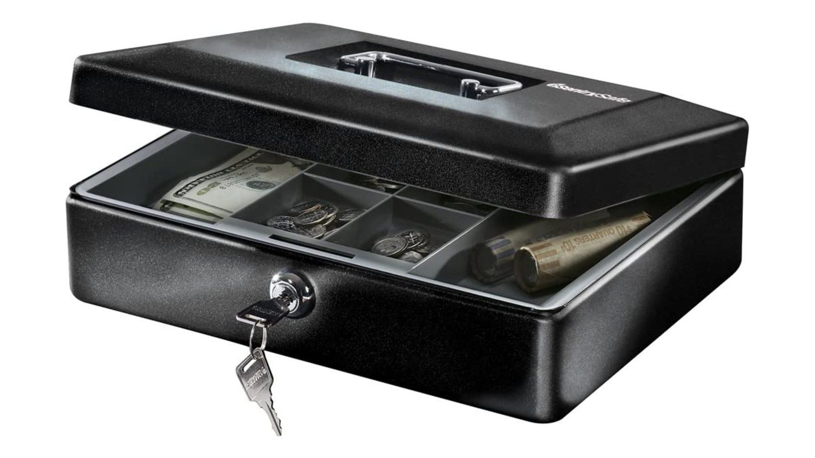 A black open cash box with a removable tray, handle, lock, and compartments with money inside