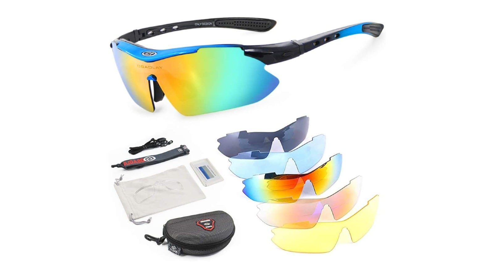 sporty sunglasses with five extra frames and other accessories