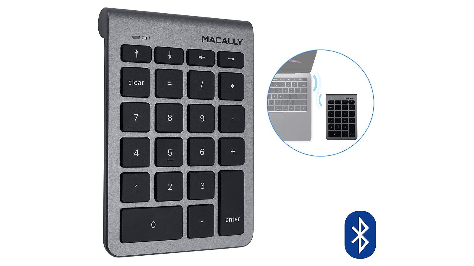 A silver numeric keypad with black keys that offers Bluetooth technology