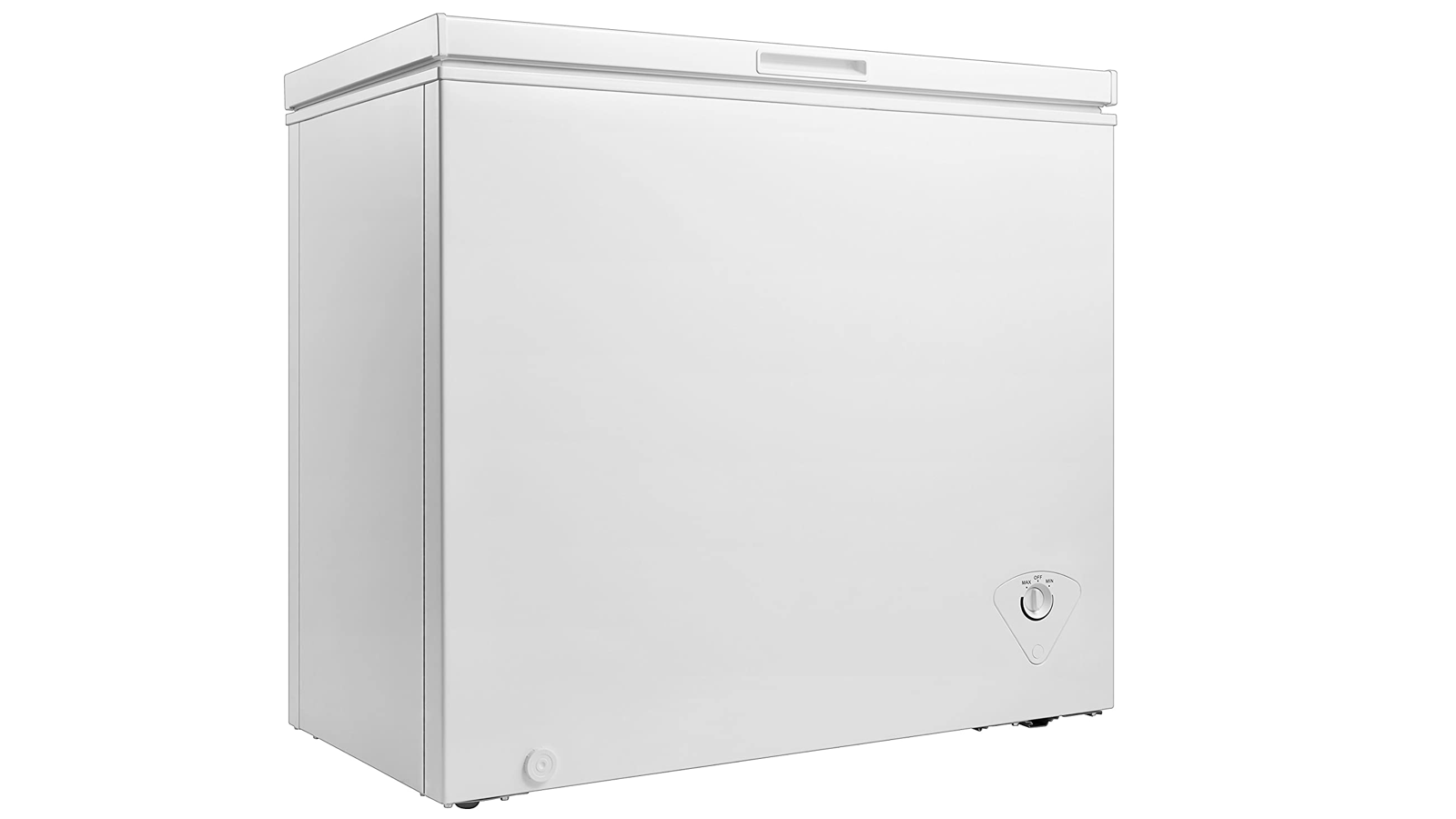 large, rectangular, off-white chest freezer with a dial on the bottom right corner