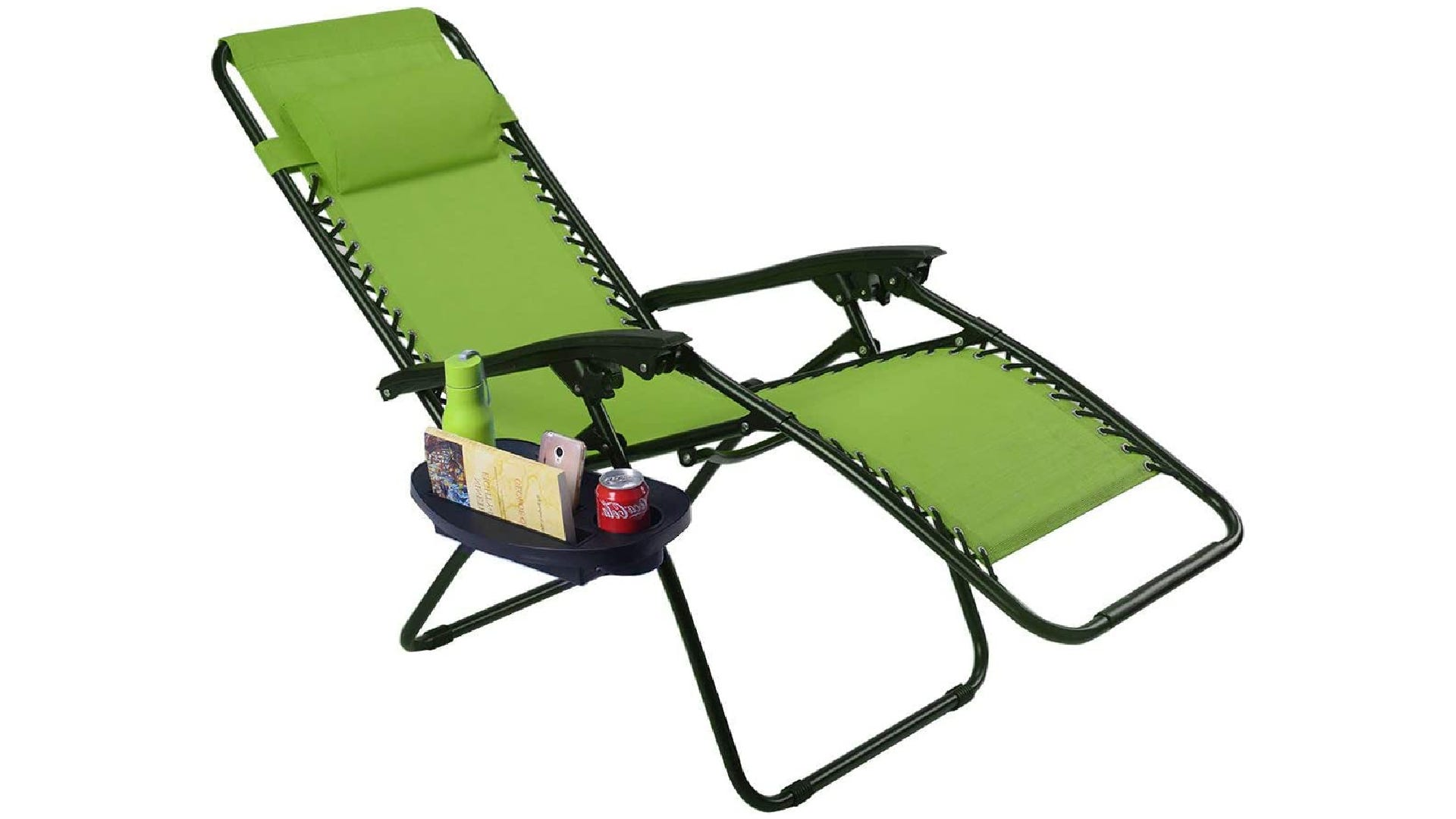 a green zero gravity reclining chair with snacks in the side tray
