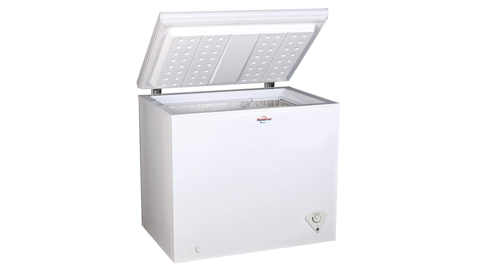 white cubic chest freezer with the lid open
