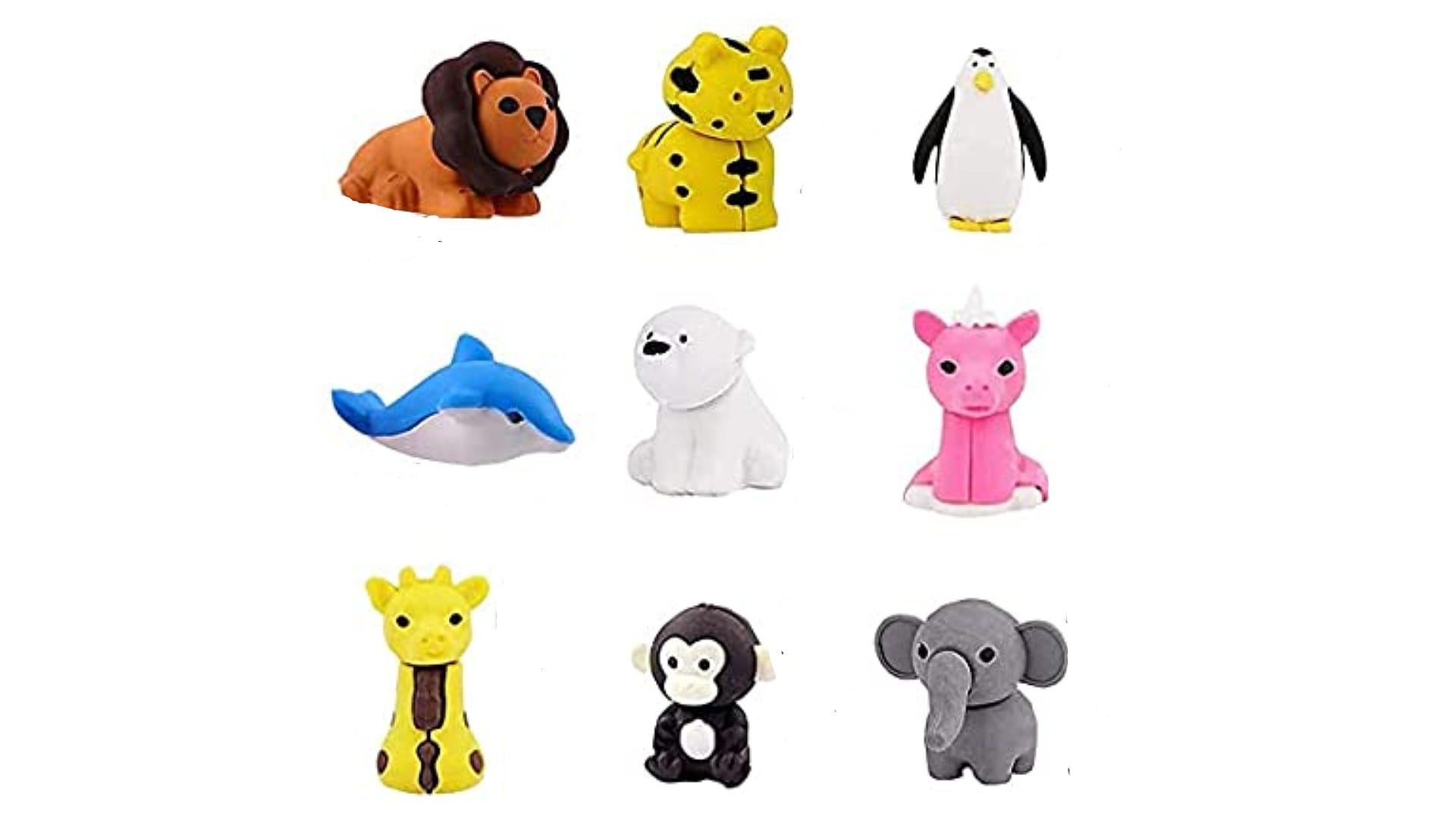multiple animal style erasers