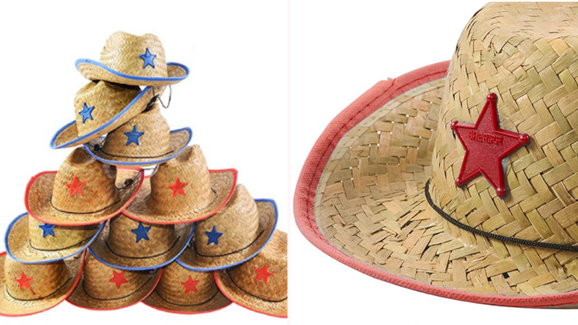 On the left, a pyramid stack of straw cowboy hats for children that measure seven inches in diameter and feature a chinstrap. On the left, a close up view of the cowboy hat showcases the red plastic sheriff's badge at the center of its crown, and the red ribbon lining its brim.