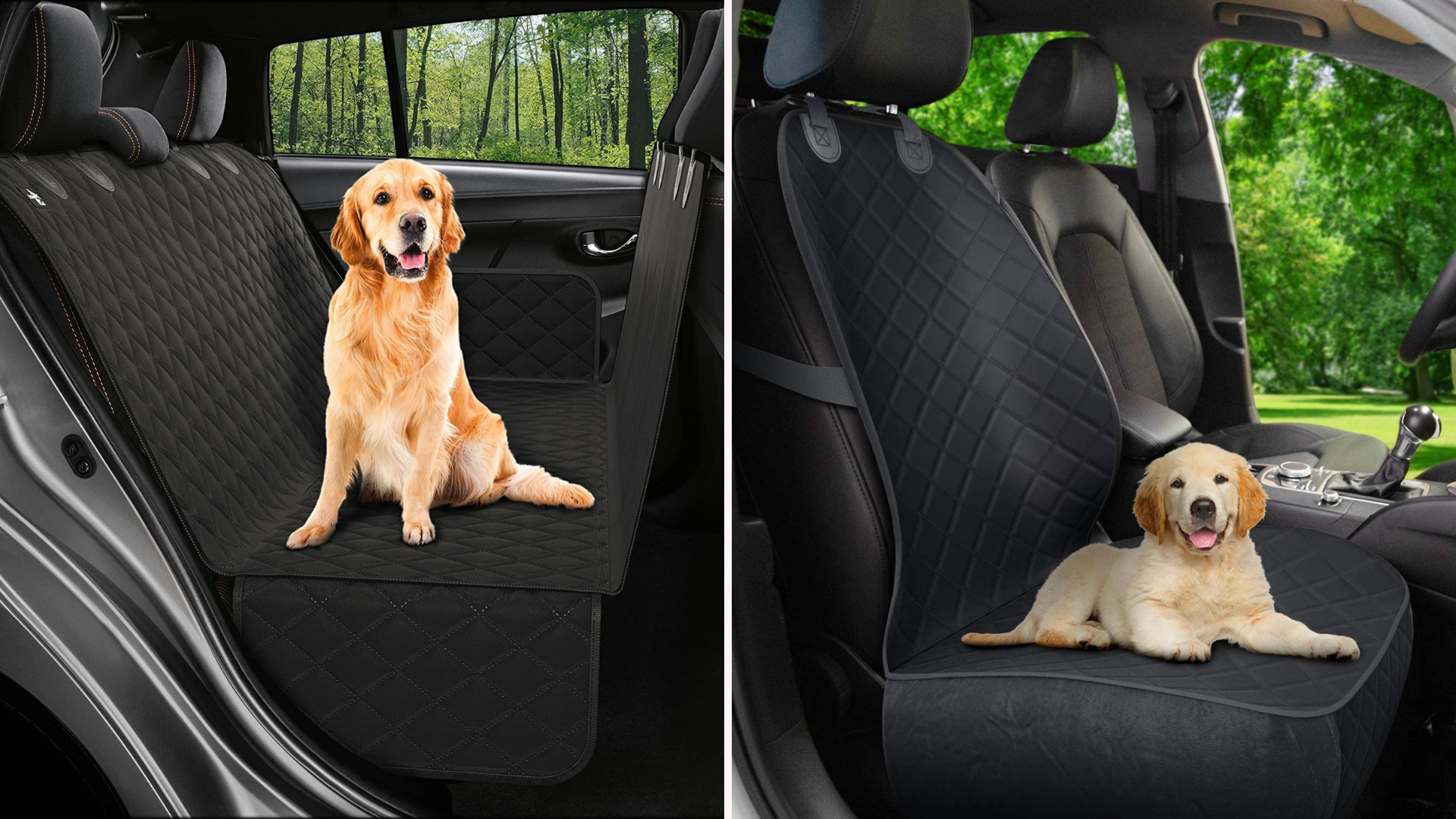 On left, labrador sitting happily on backseat car cover; on right, a puppy lying down on seat cover