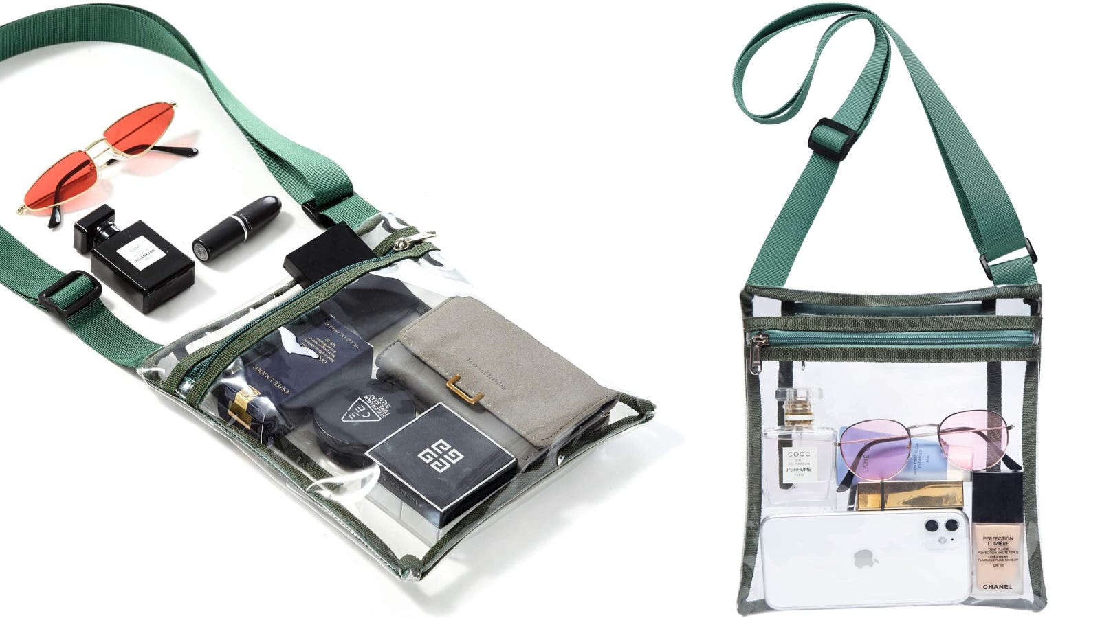 a clear purse with a green strap, zipper, and stitching