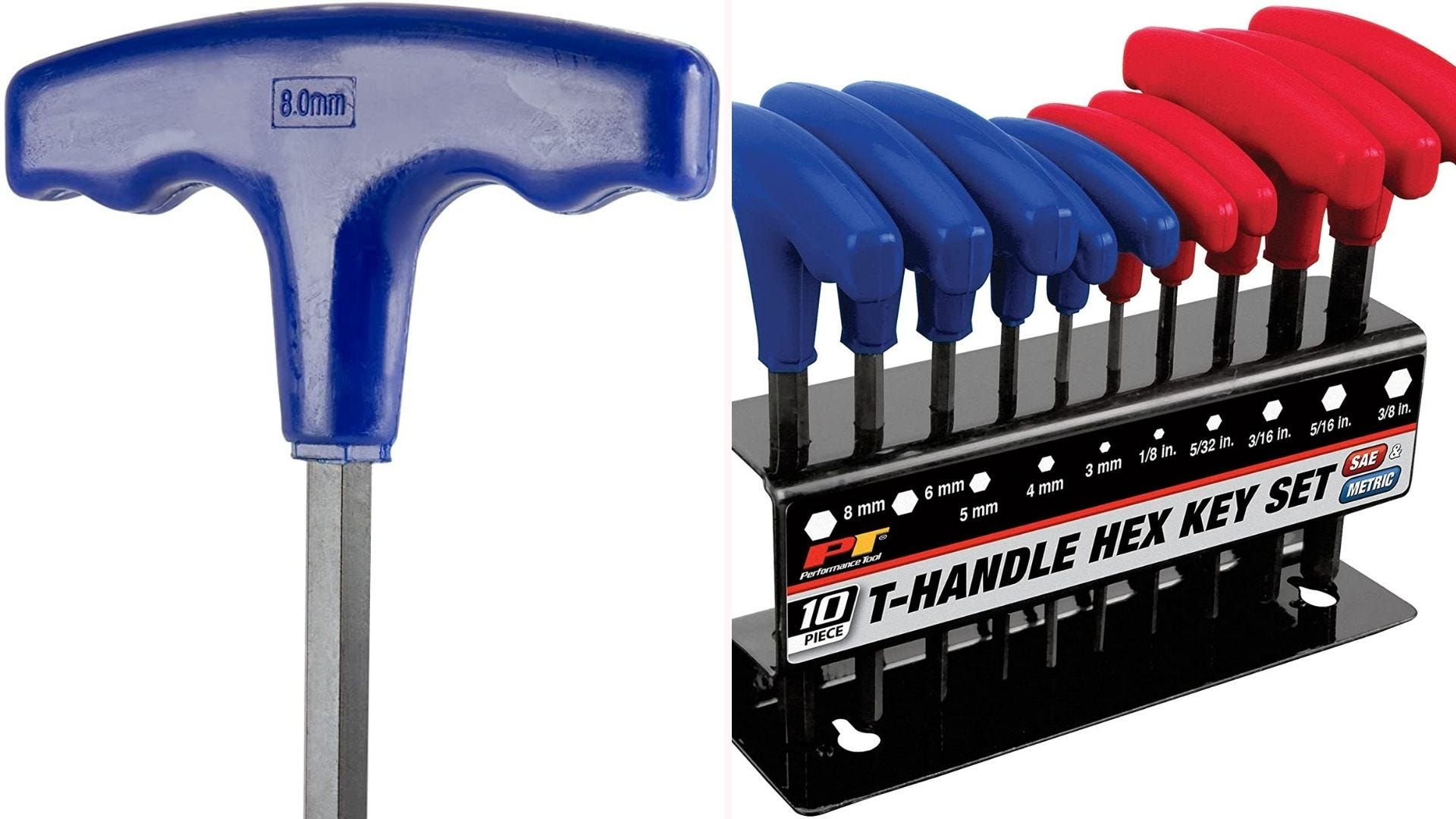 Blue and red T-handle hex keys standing in a set