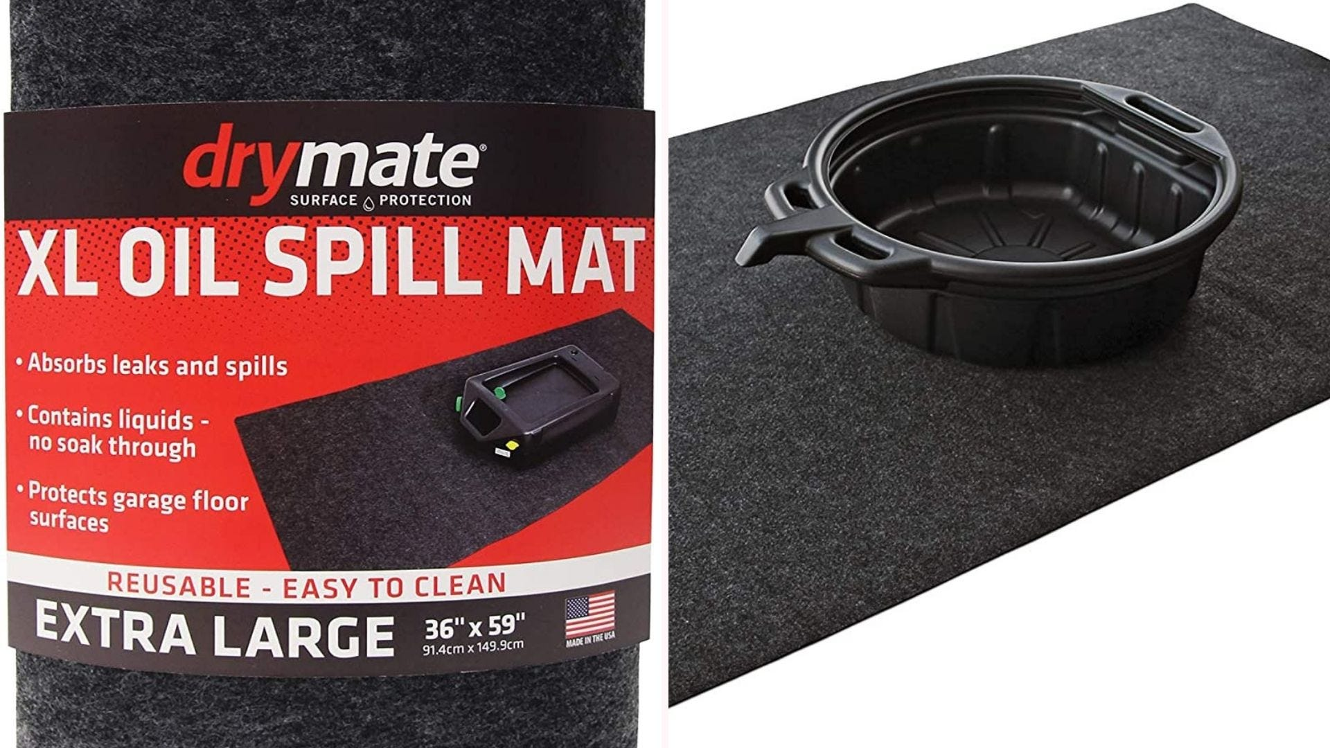 A garage floor mat with a raised catcher for oil spills
