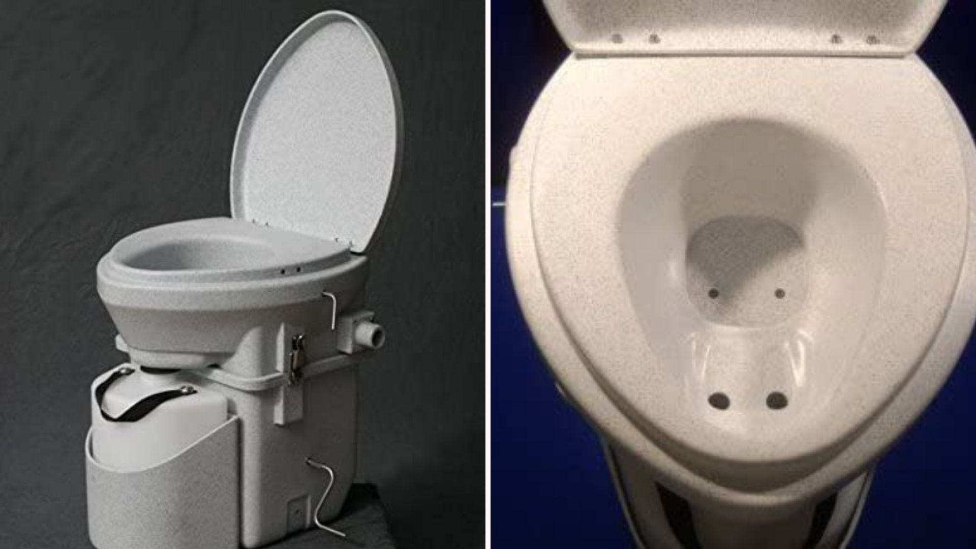 two views of a composting toilet
