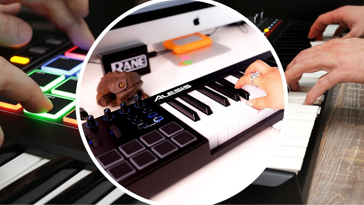On the left, a person uses the illuminated pads of a MIDI keyboard. In the middle, a person plays a chord on a MIDI keyboard. On the right, a person plays the keys of a MIDI keyboard