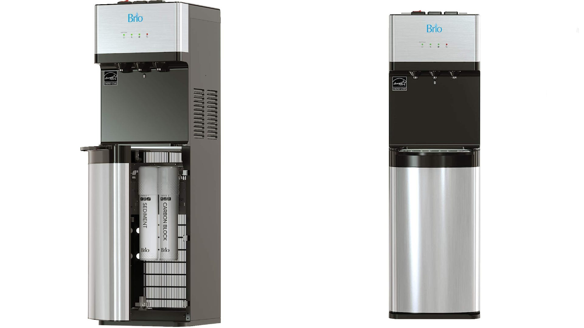 A side on front view of a silver bottleless water cooler.