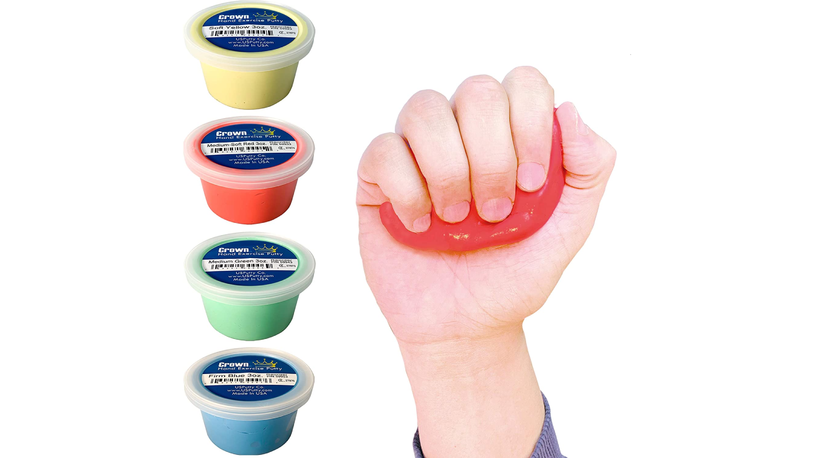 Four containers, each with different color putty in column on left with a hand squeezing red putty on the right.