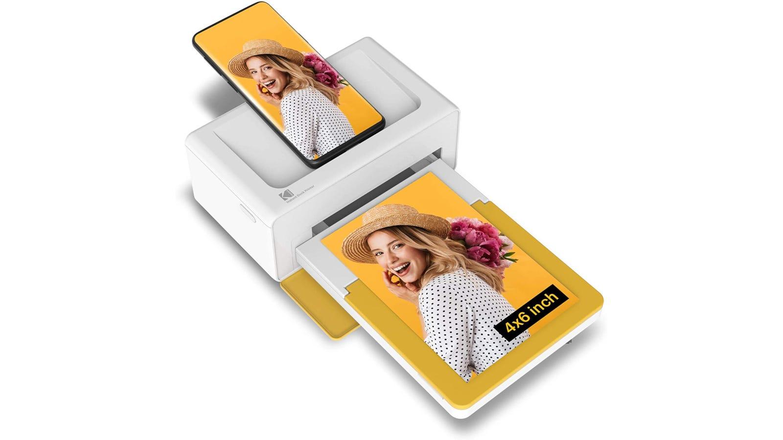 White smartphone compatible mini photo printer for 4x6-inch photo prints