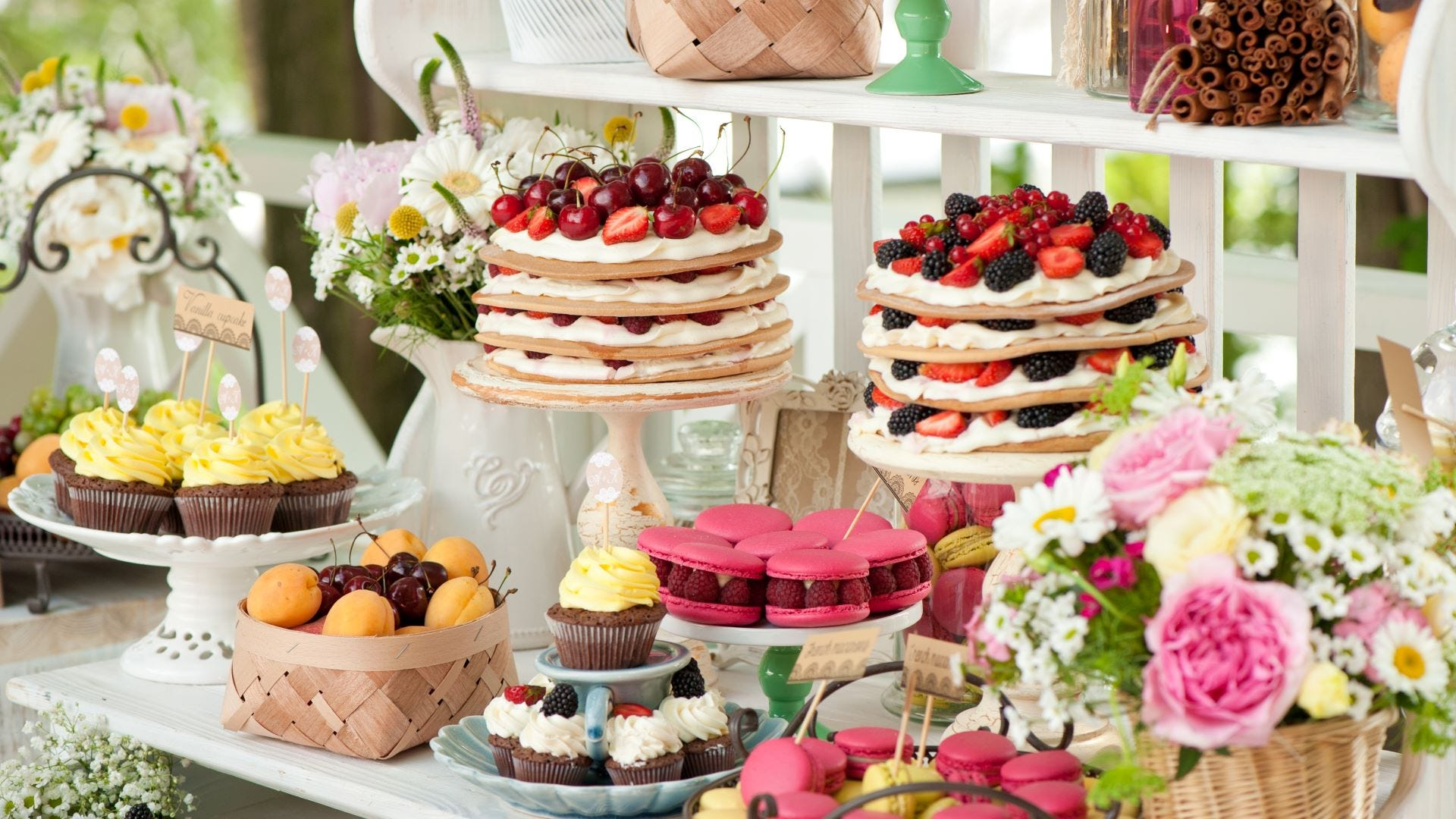 Wedding cakes and pastries.