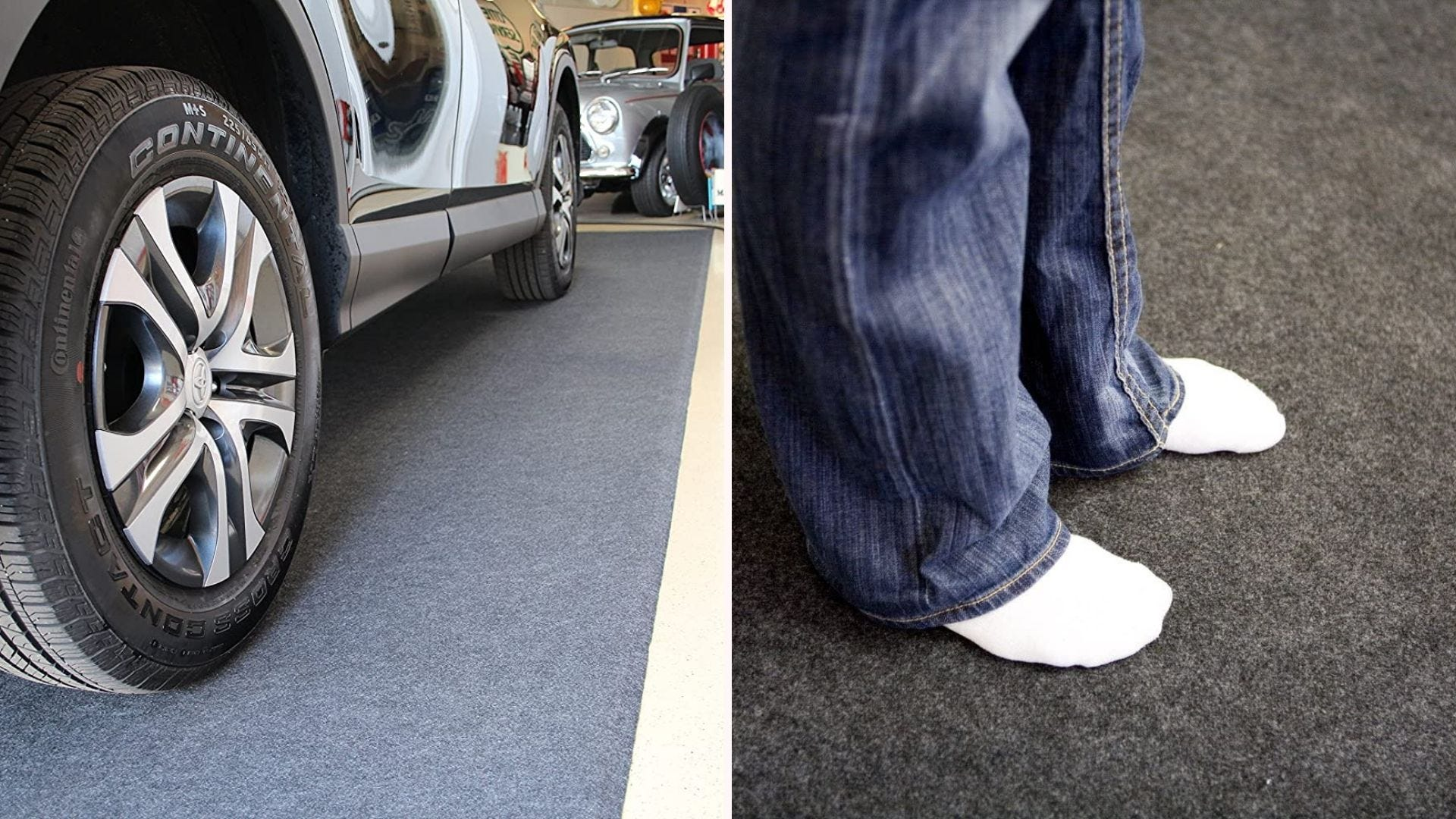 A carpet-like garage floor mat shown under a parked car and under a person's feet