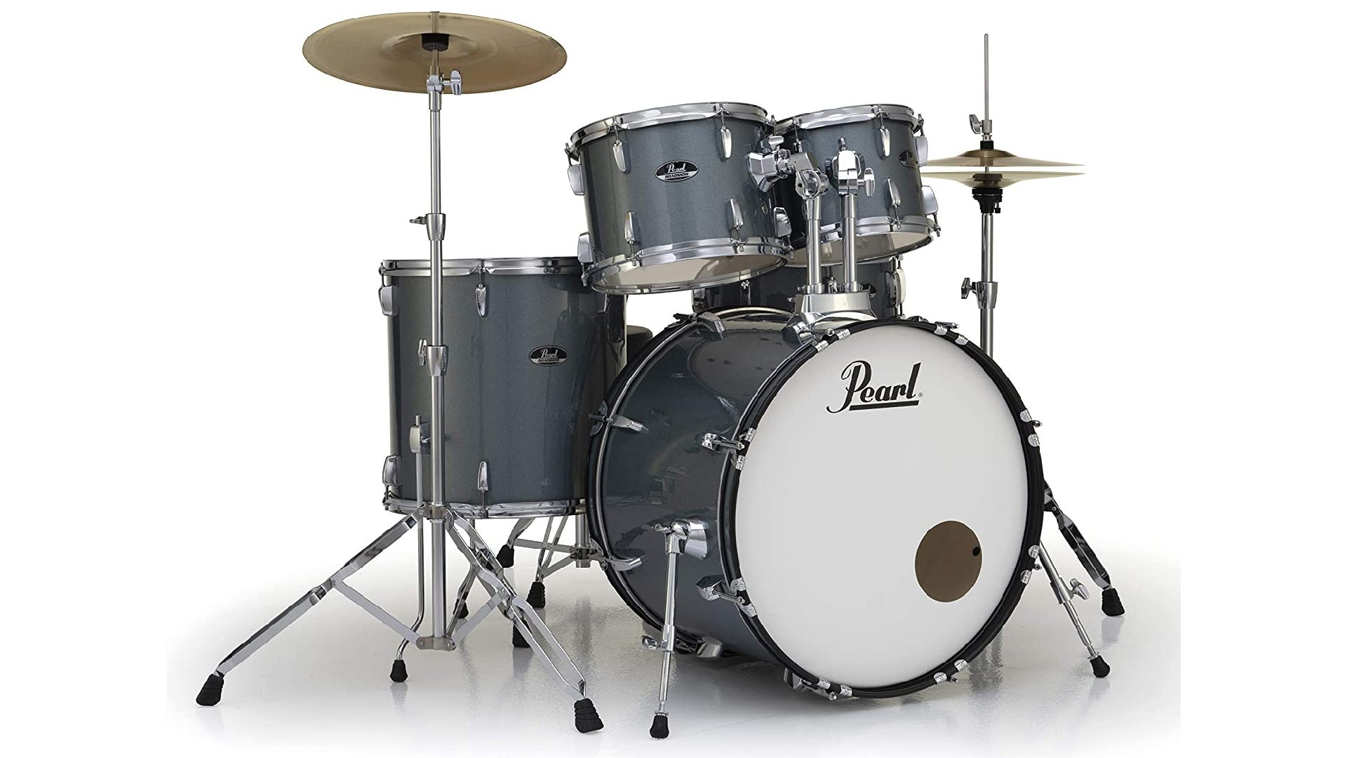 gray-colored drum set with bass drum, snare, two mounted toms, floor tom, hi-hat, and crash cymbal.