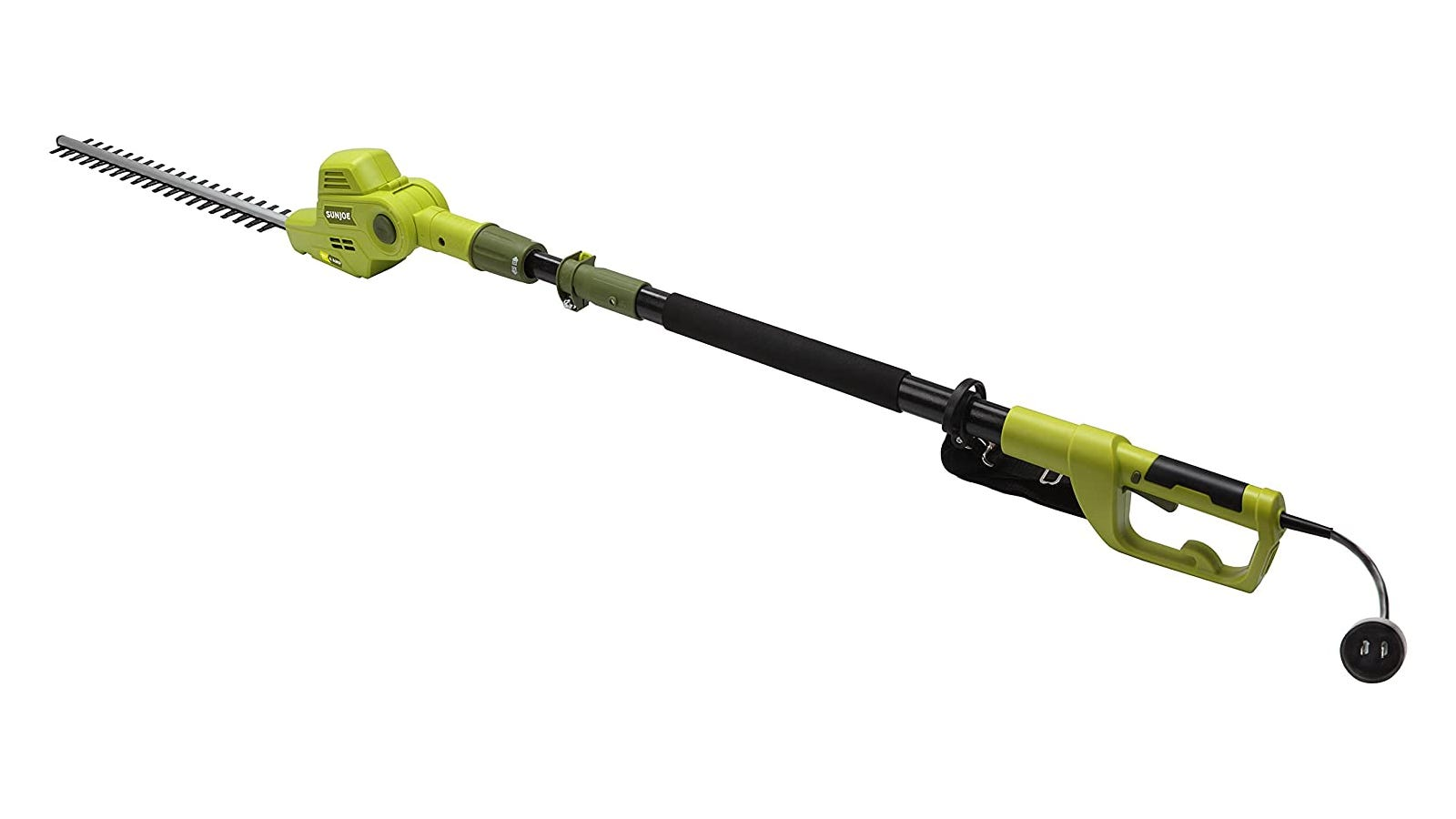 Green hedge trimmer with telescoping pole design, pivoting head, and 21-inch blade