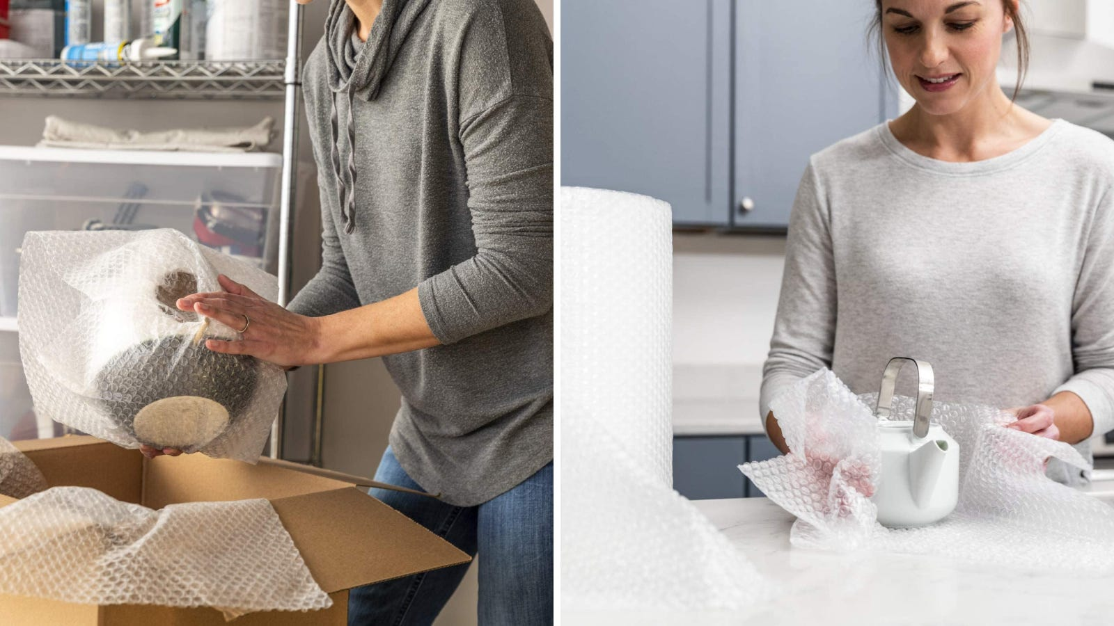 Two images of Duck brand bubble wrap being usedf to wrap dishes that are being packed in boxes.