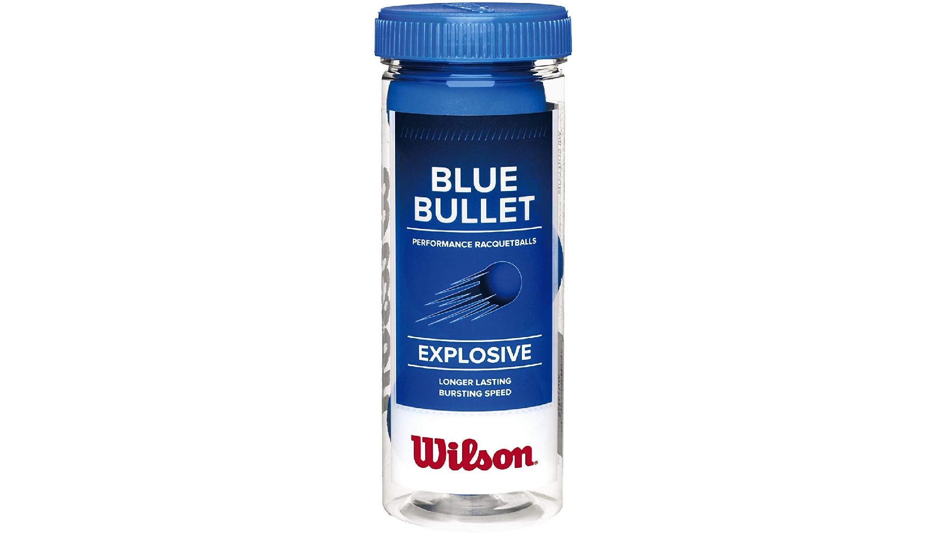 A can of three blue racquetballs from Wilson.