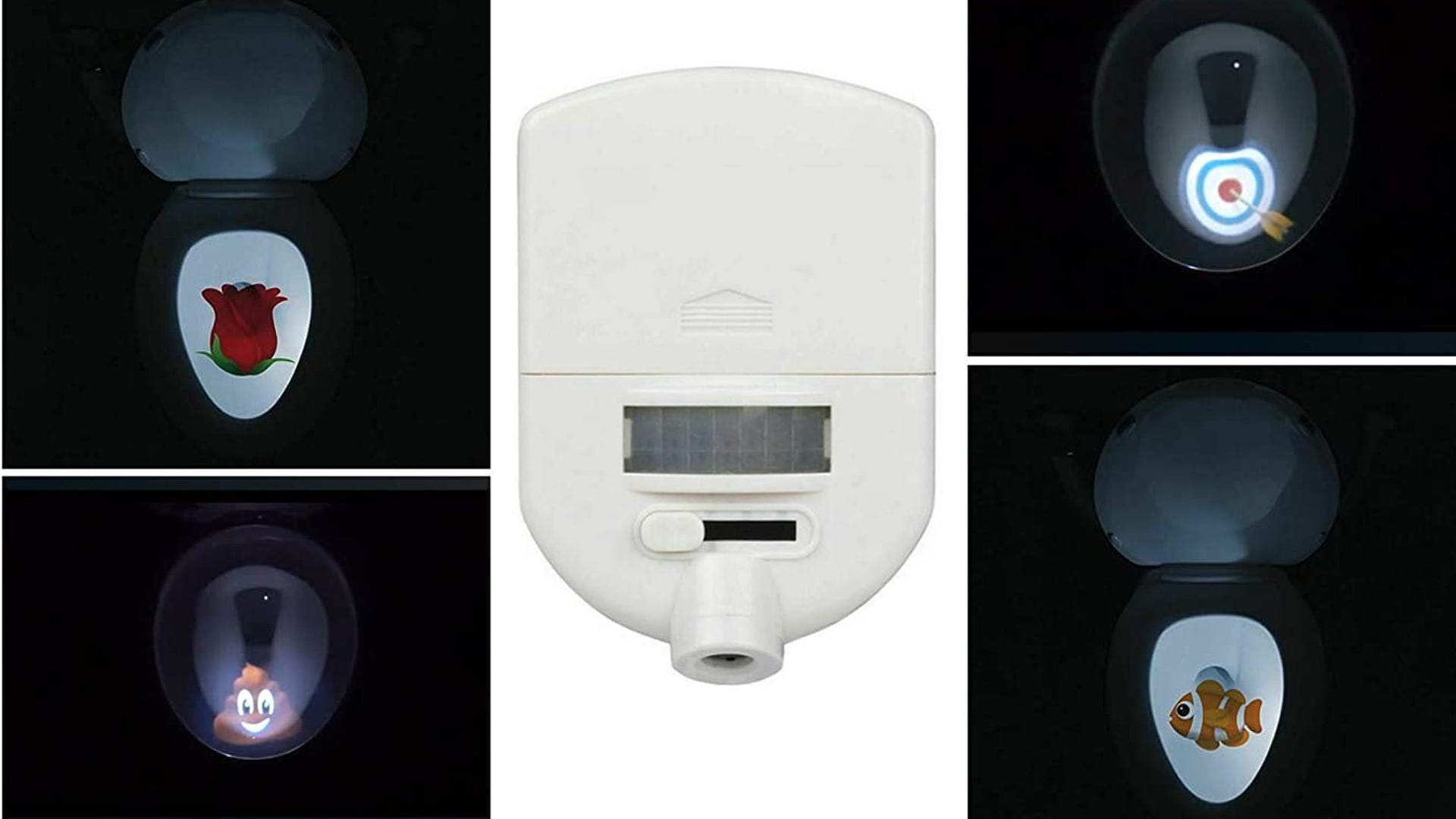 white toilet light with four different target images displayed on either side