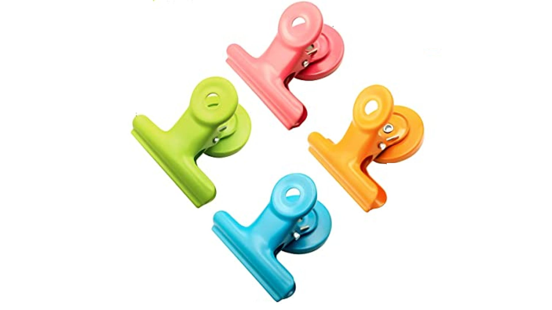 Pink, orange, green, and blue magnetic metal clips.