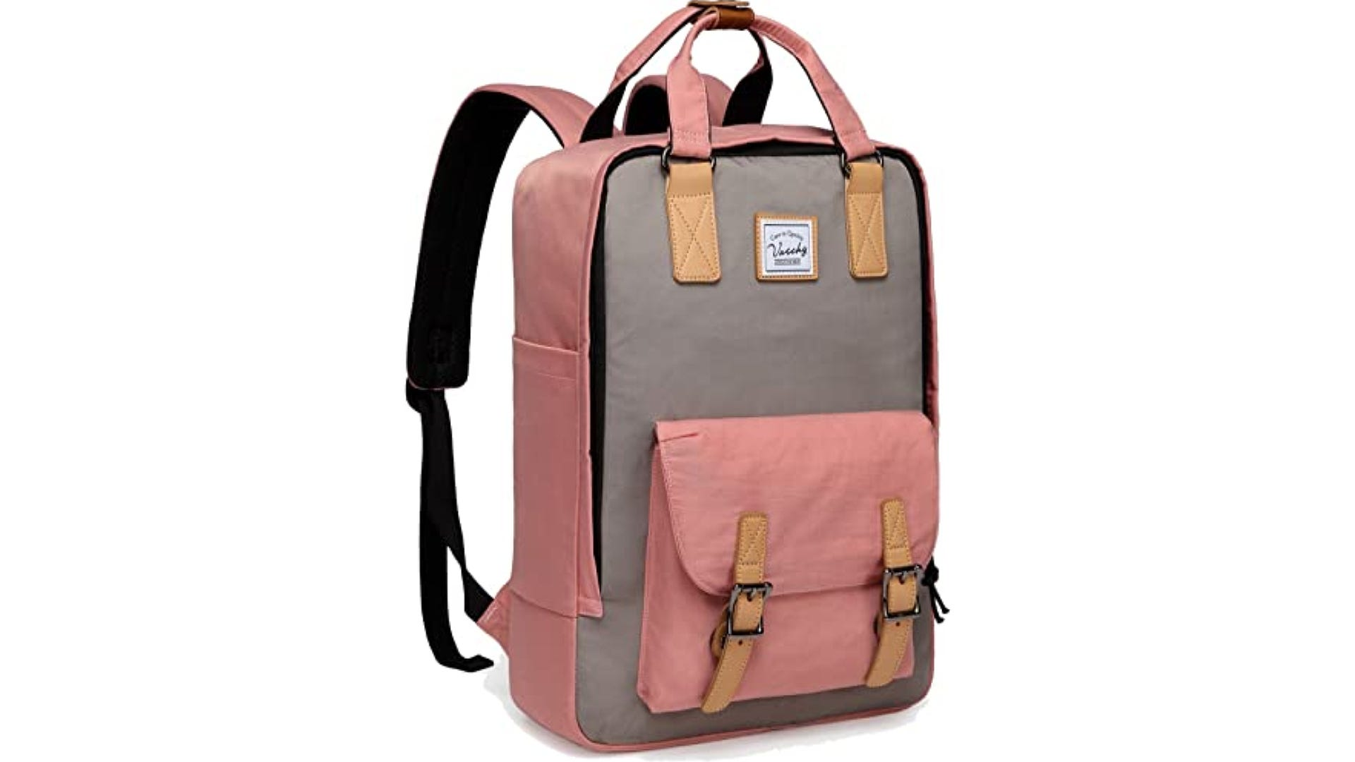 A side view of a pink and gray vintage-inspired backpack.