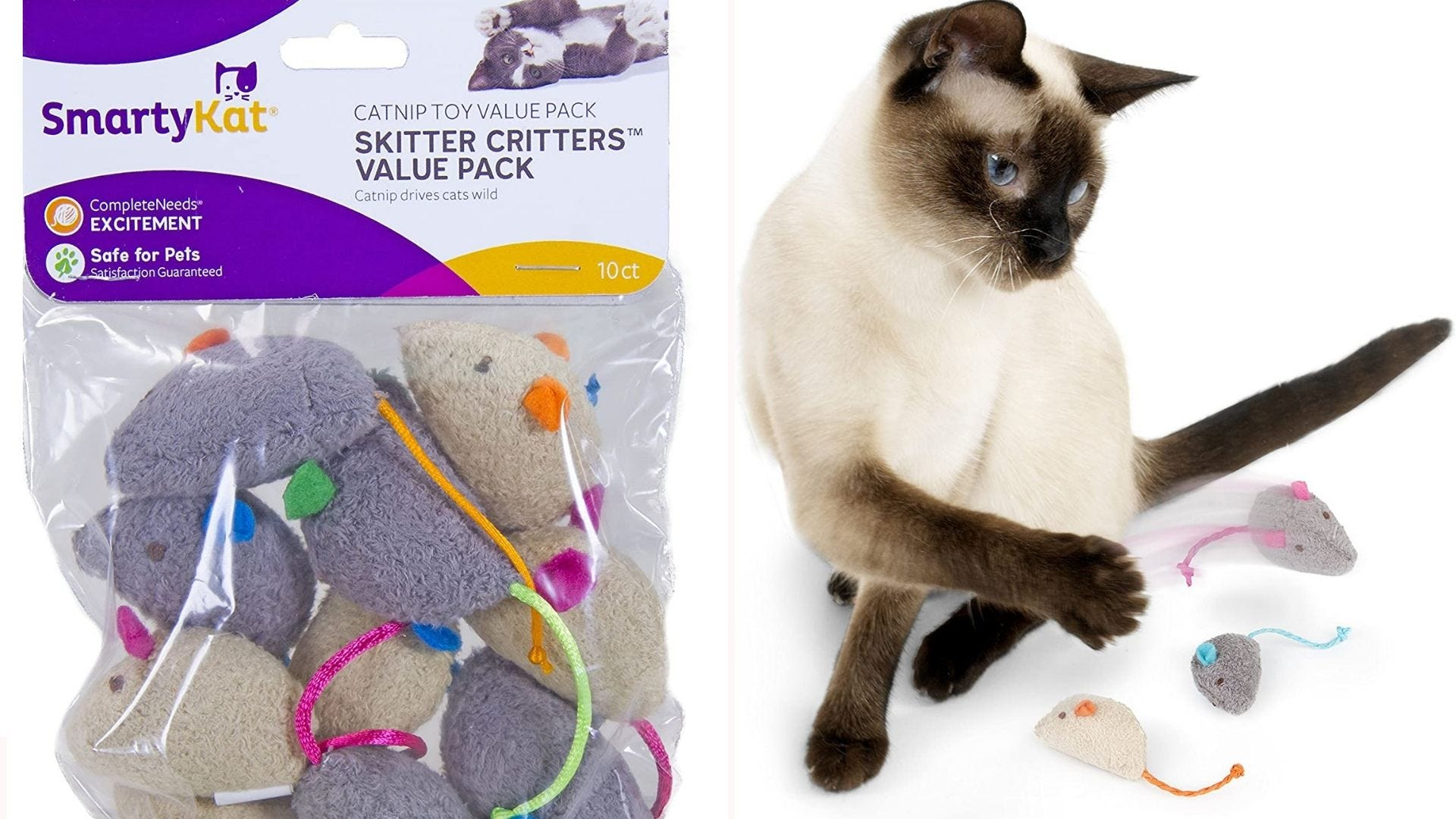 a pack of 10 mouse-shaped toys for cats