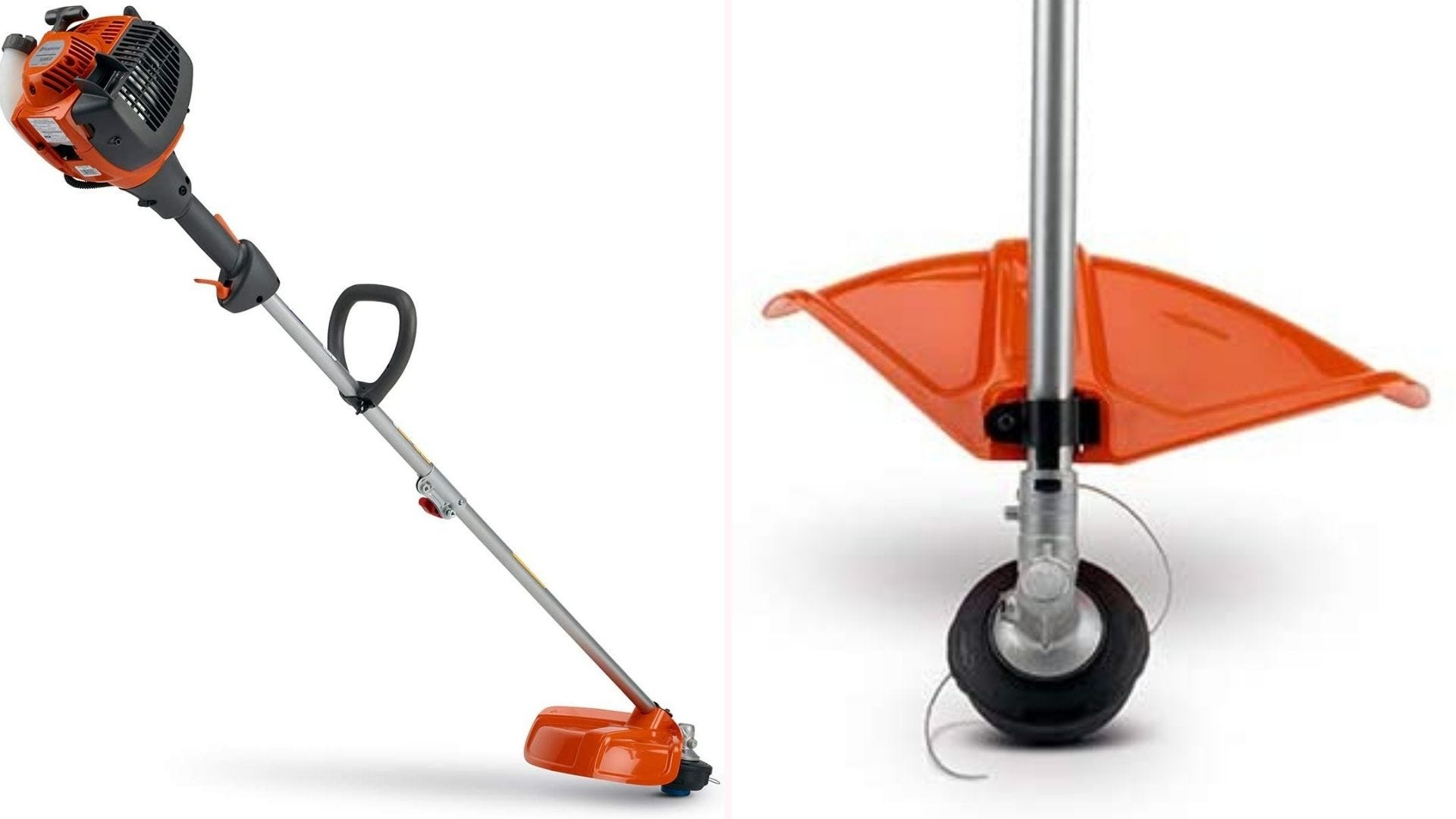 On the left is a full-frame picture of an orange and grey gas-powered trimmer. On the right is a close-up of the device's trimmer head showcasing the two pieces of trimming string that come out of the spool.