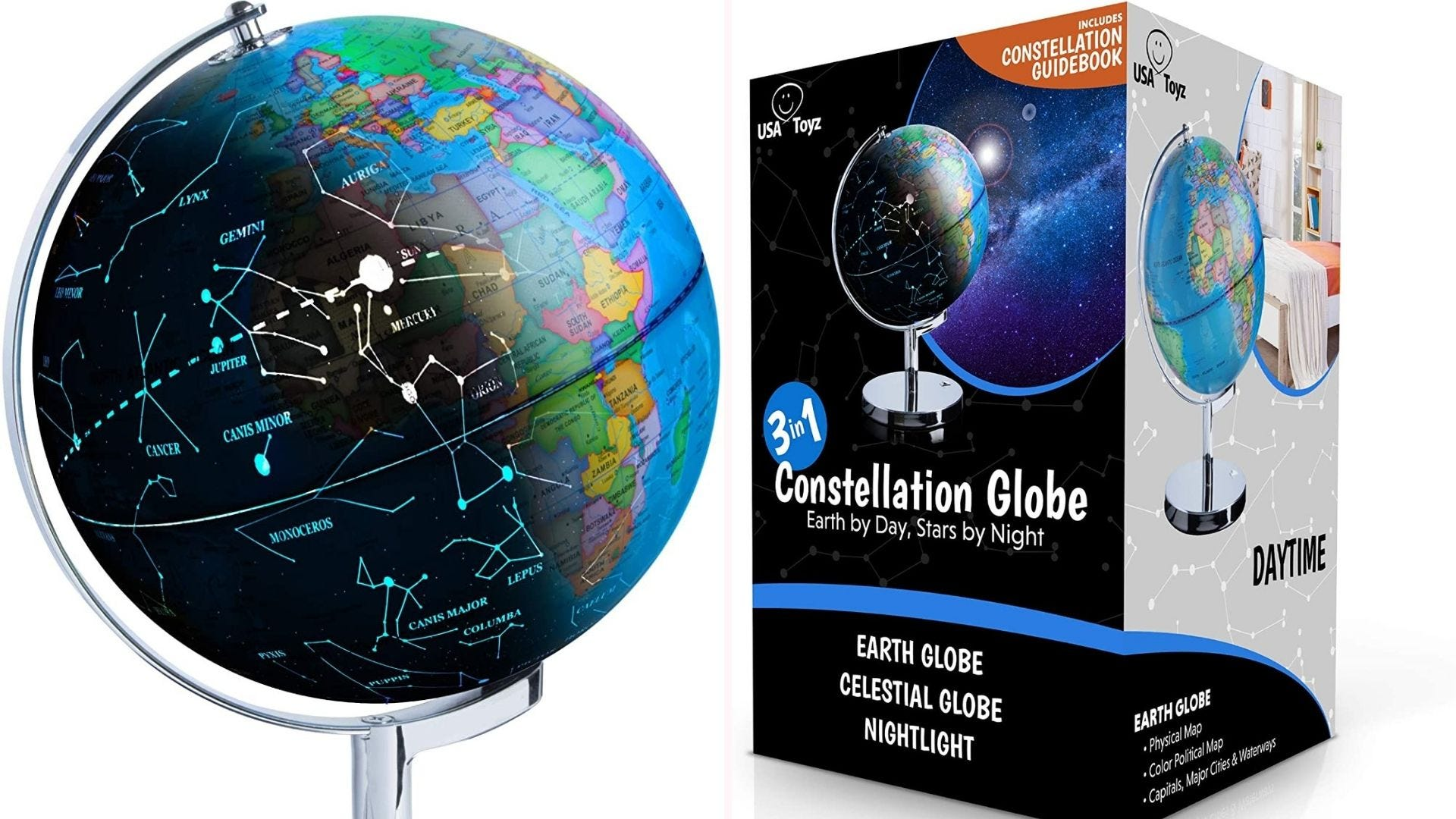 On the left, 13.5-inch tall globe is shown in two halves: a standard desk globe with detailed countries, and an illuminated globe that reveals constellations when the lights are turned off. On the right, the globe sits in its rectangular packaging.