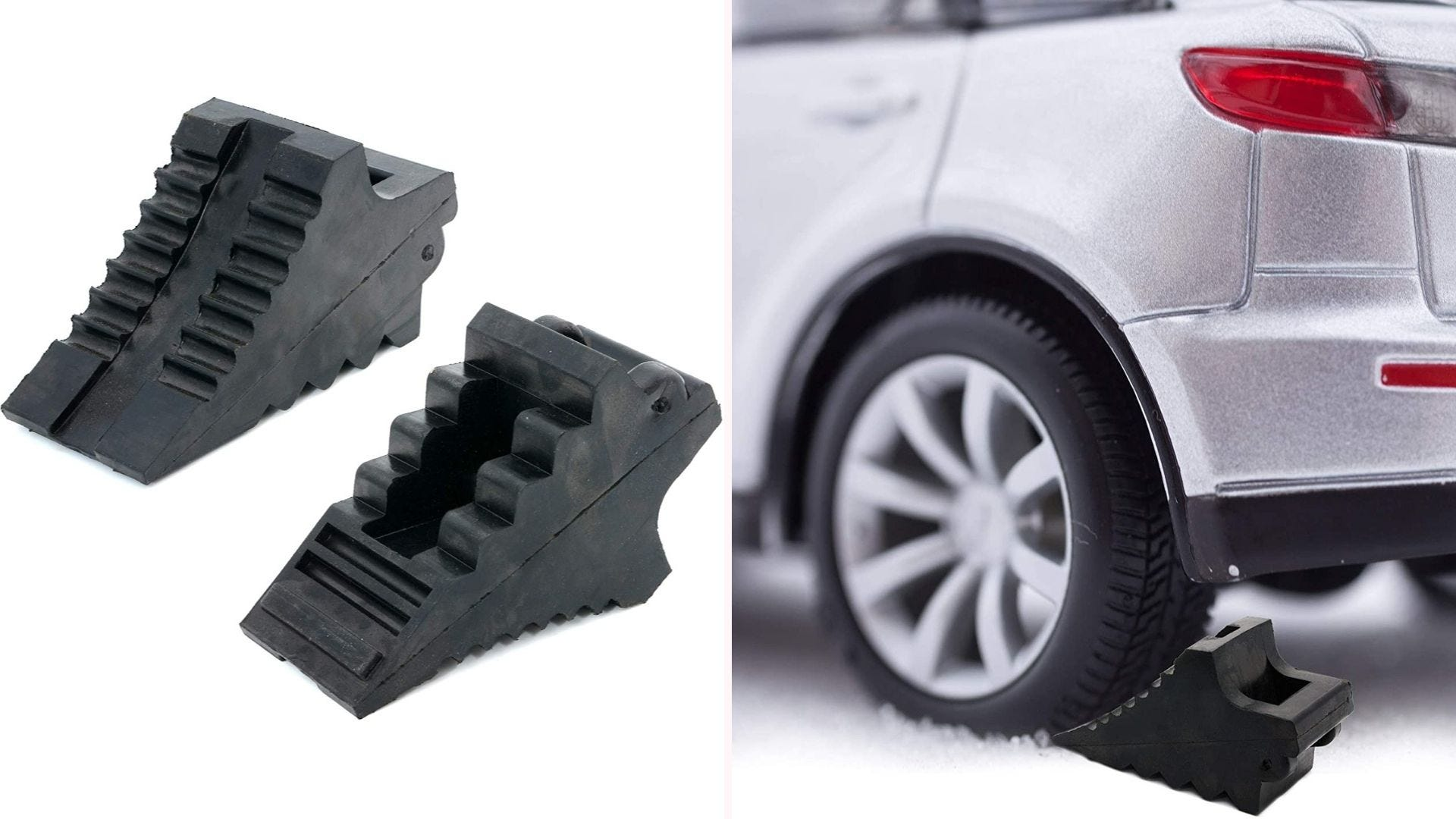 On the left, two black rubber wheel chocks with deep ridges on their surface sit side-by-side. On the right, the wheel chock sits under the tire of a parked vehicle.